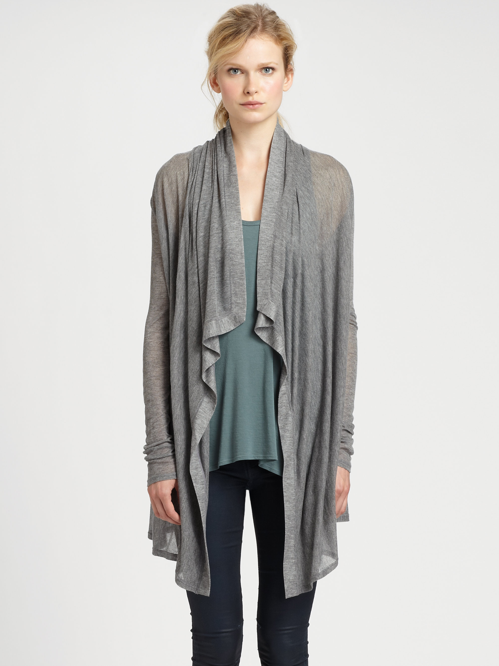 Helmut lang Voltage Draped Cardigan in Gray | Lyst