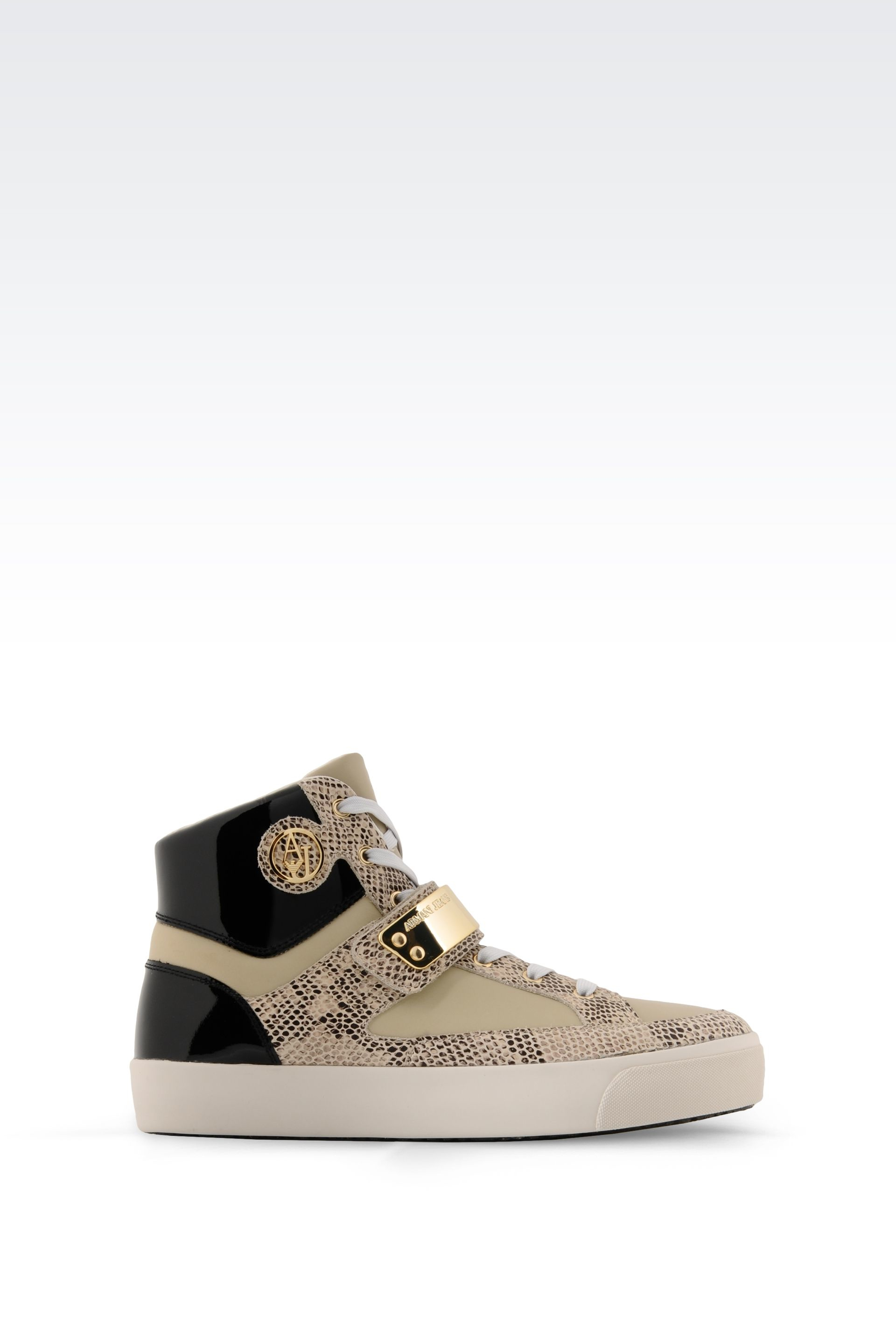 armani jeans high top sneaker in leather in gold beige. Black Bedroom Furniture Sets. Home Design Ideas
