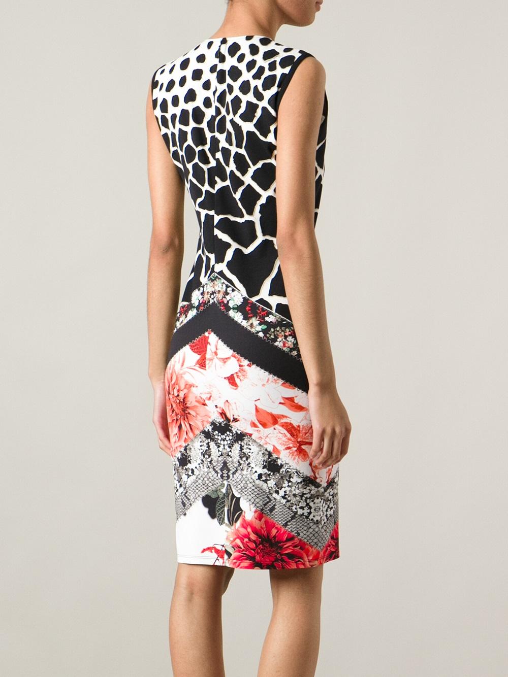 Roberto Cavalli Leopard Print Floral Dress In Black Lyst