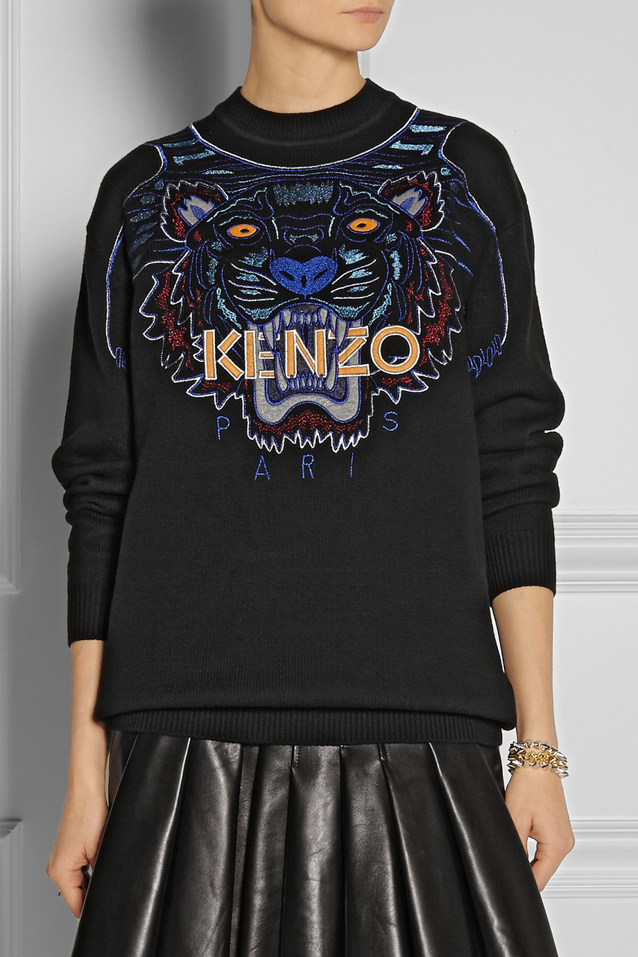 kenzo tiger embroidered cotton sweater in black lyst. Black Bedroom Furniture Sets. Home Design Ideas