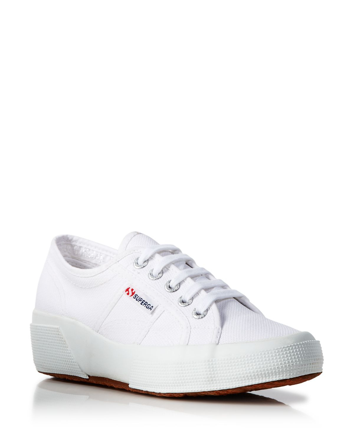 Lyst - Superga Lace Up Sneakers - Hidden Wedge Heel in White 5630a08afe