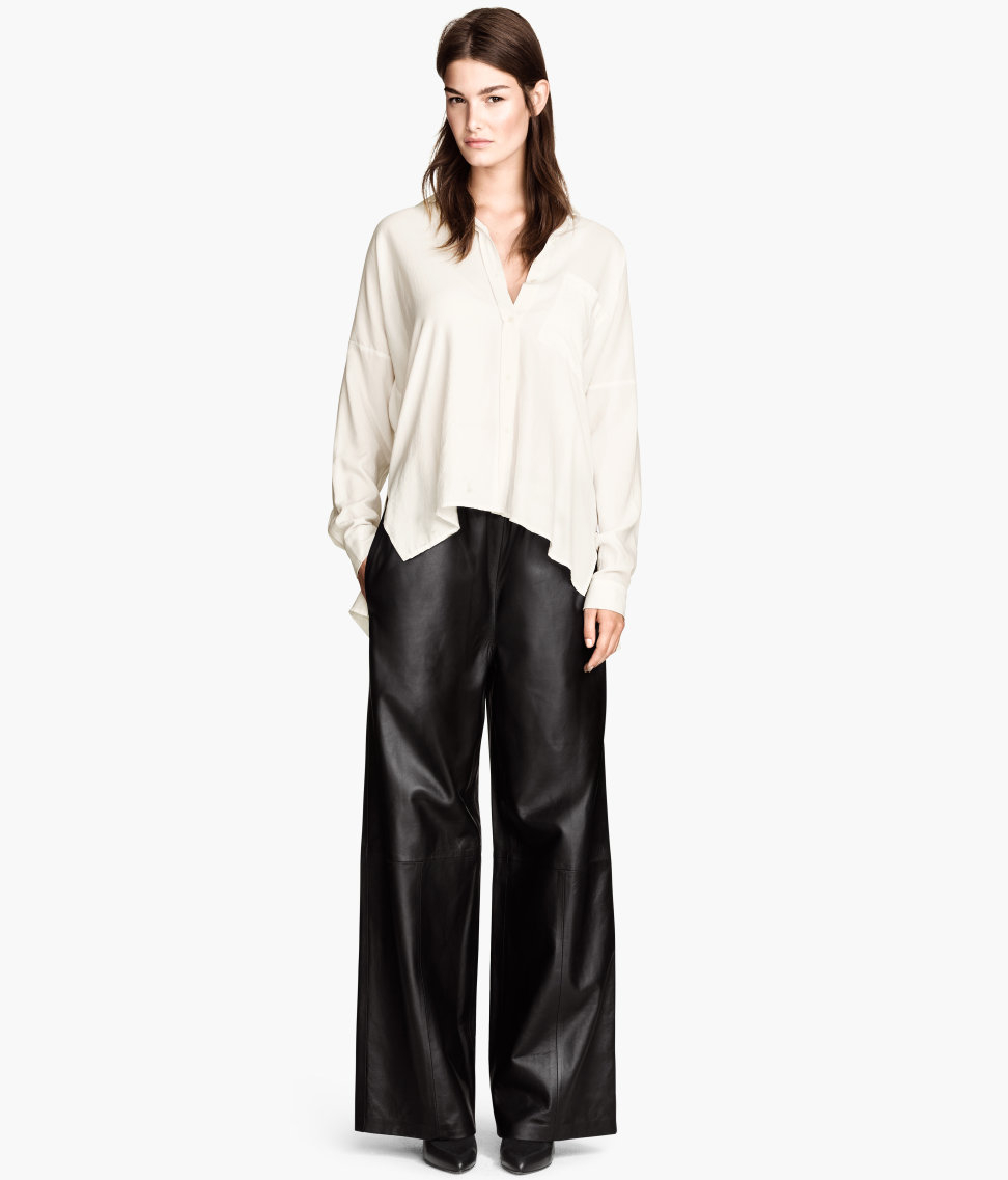 H&m Wide Leather Trousers in Black | Lyst
