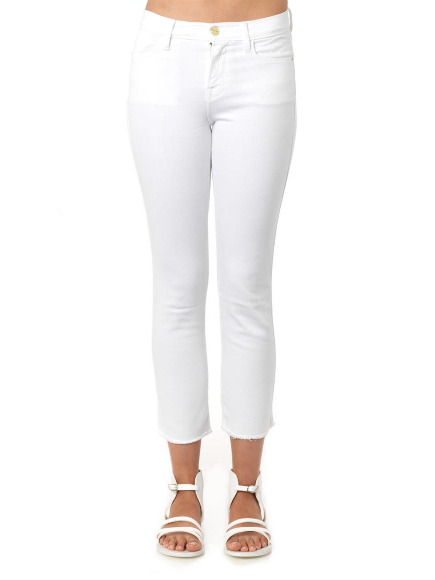 Lyst Frame Le High Straight High Rise Cropped Jeans In White