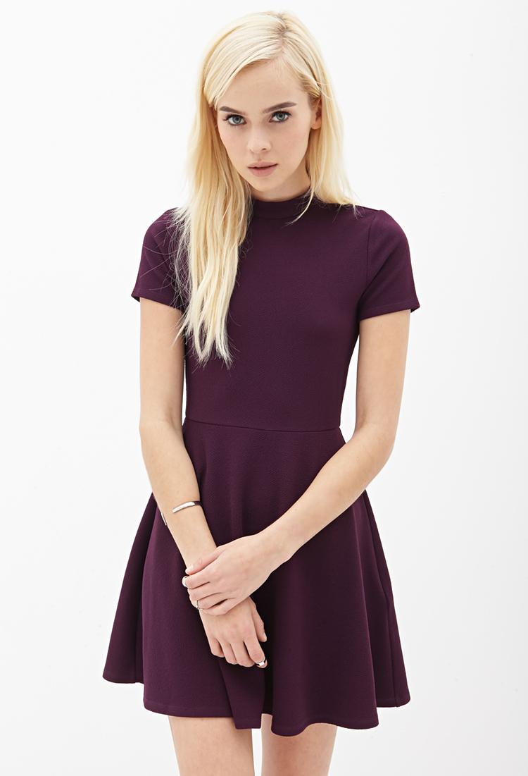 Forever 21 Matelassé Skater Dress in Purple (PLUM)   Lyst