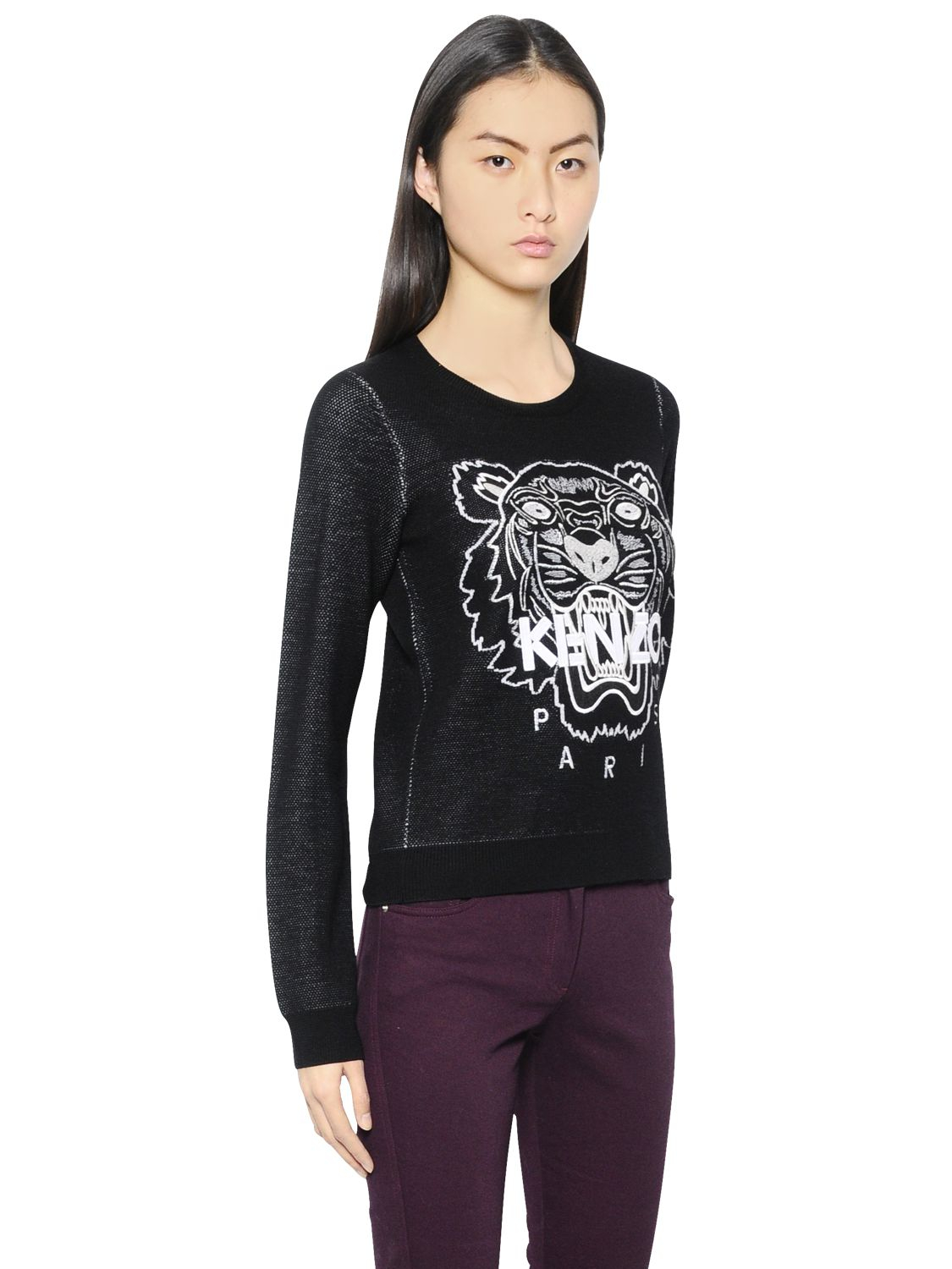 kenzo tiger wool and cotton knit pique sweater in black lyst. Black Bedroom Furniture Sets. Home Design Ideas