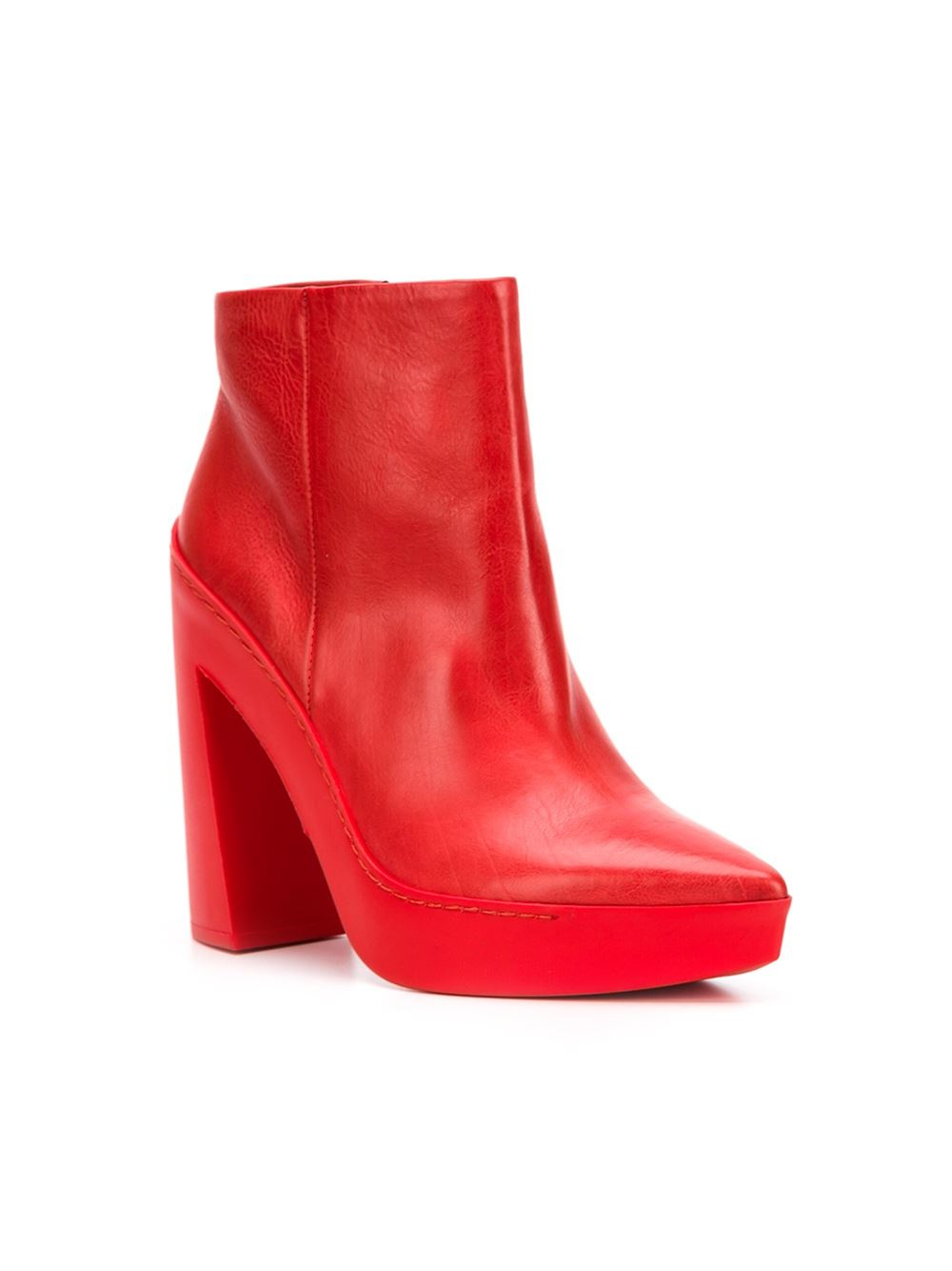 Vic Mati 233 Chunky Heel Boots In Red Lyst