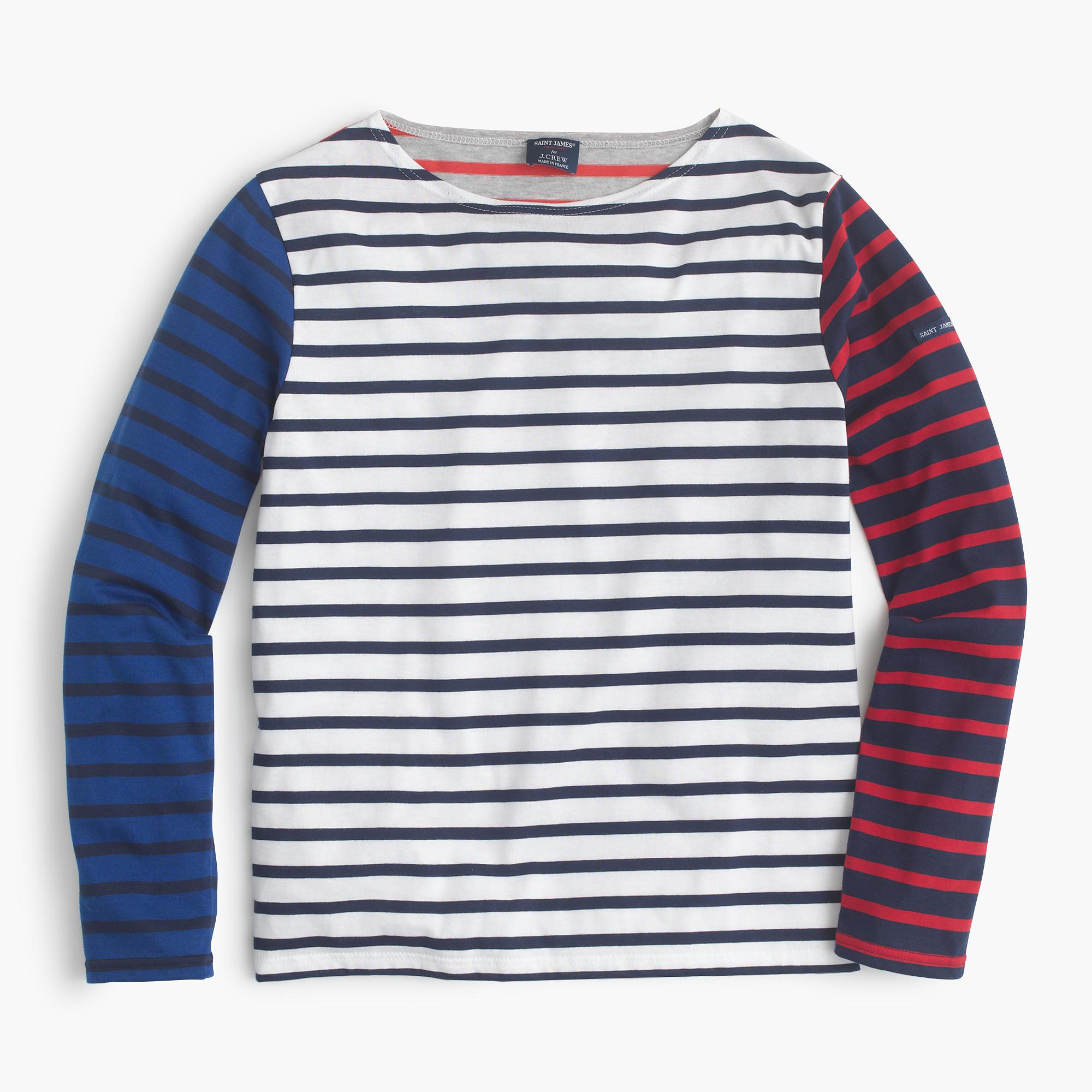 Saint james colorblock stripe t shirt in blue for St james striped shirt