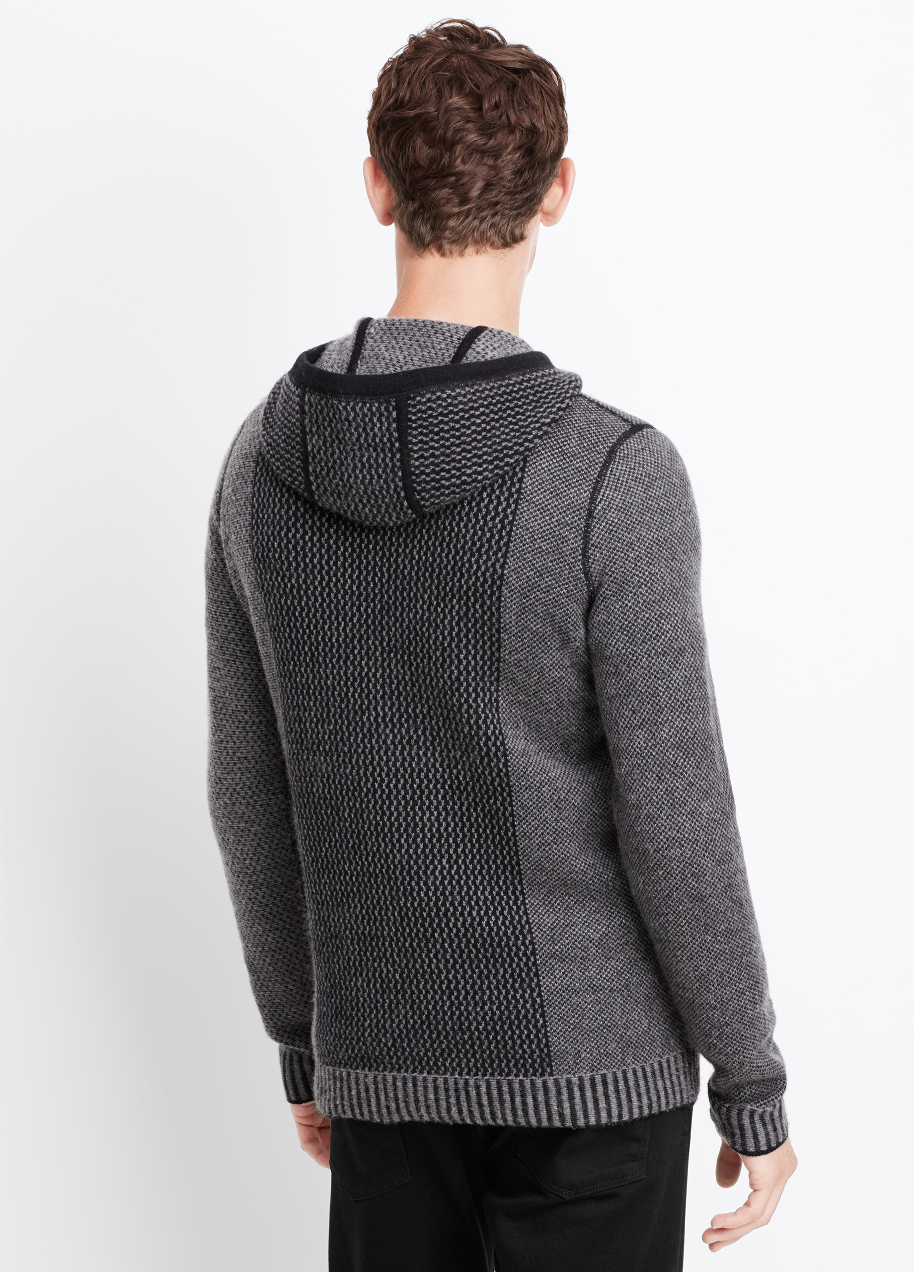Vince Wool Cashmere Engineered Stitch Hoodie Sweater in Black for ...