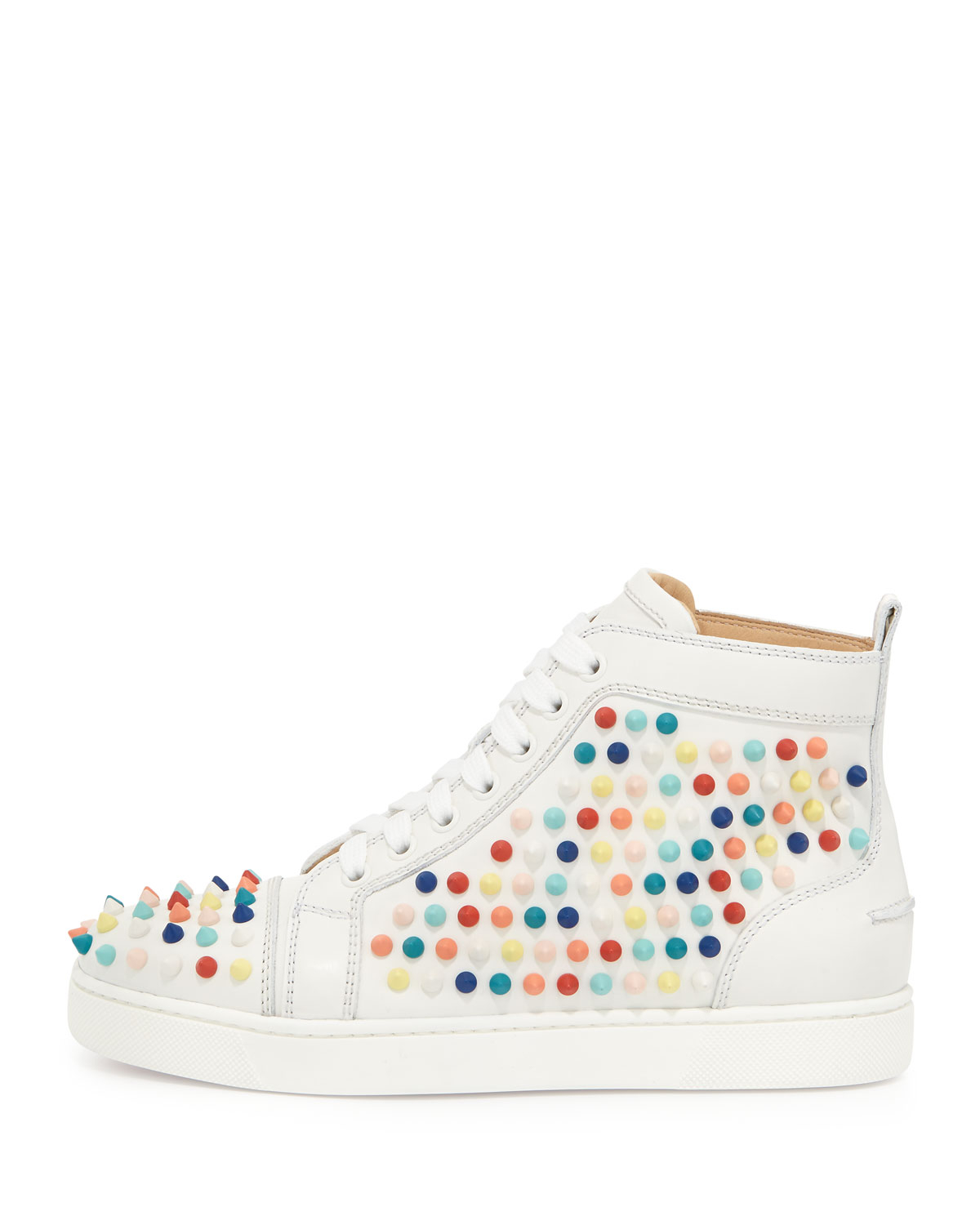 more photos f5dd4 594c0 Christian Louboutin Multicolor Louis Spikes Calfskin Hightop Sneaker