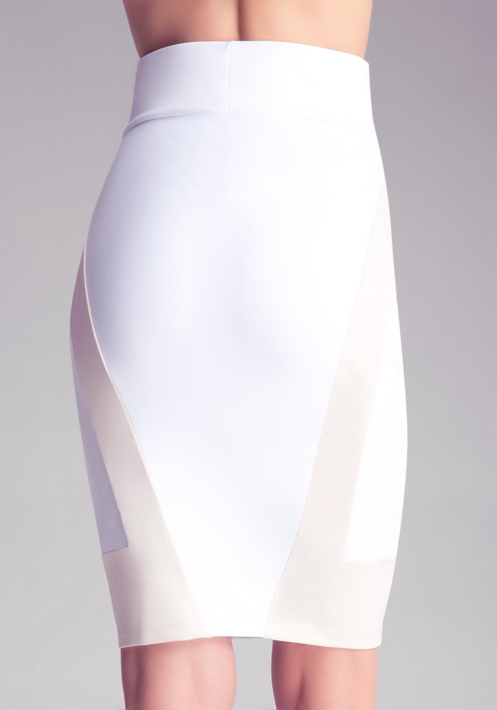 bebe colorblock midi knit skirt in white lyst