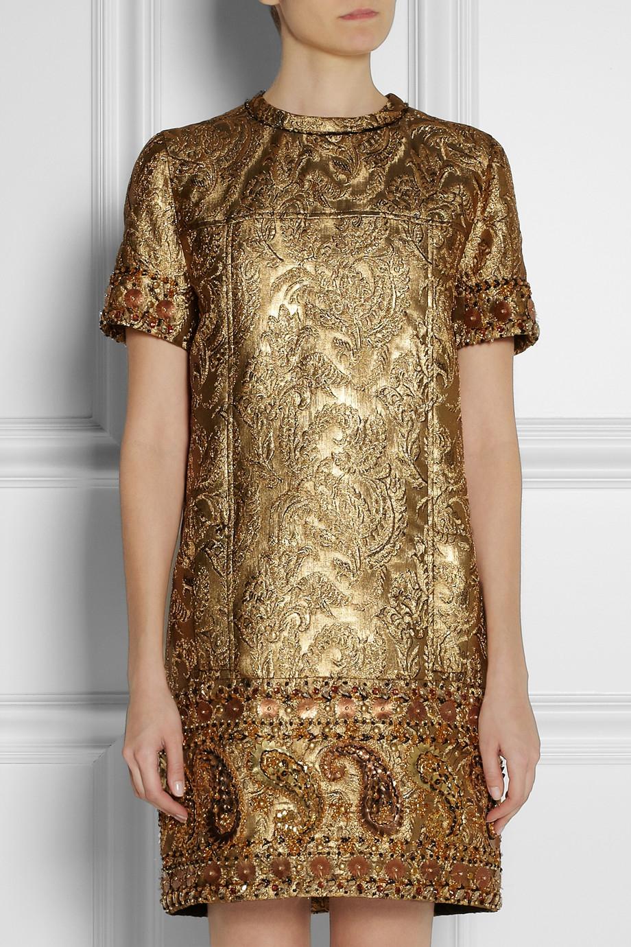 Lyst Lanvin Embellished Metallic Brocade Dress In Metallic