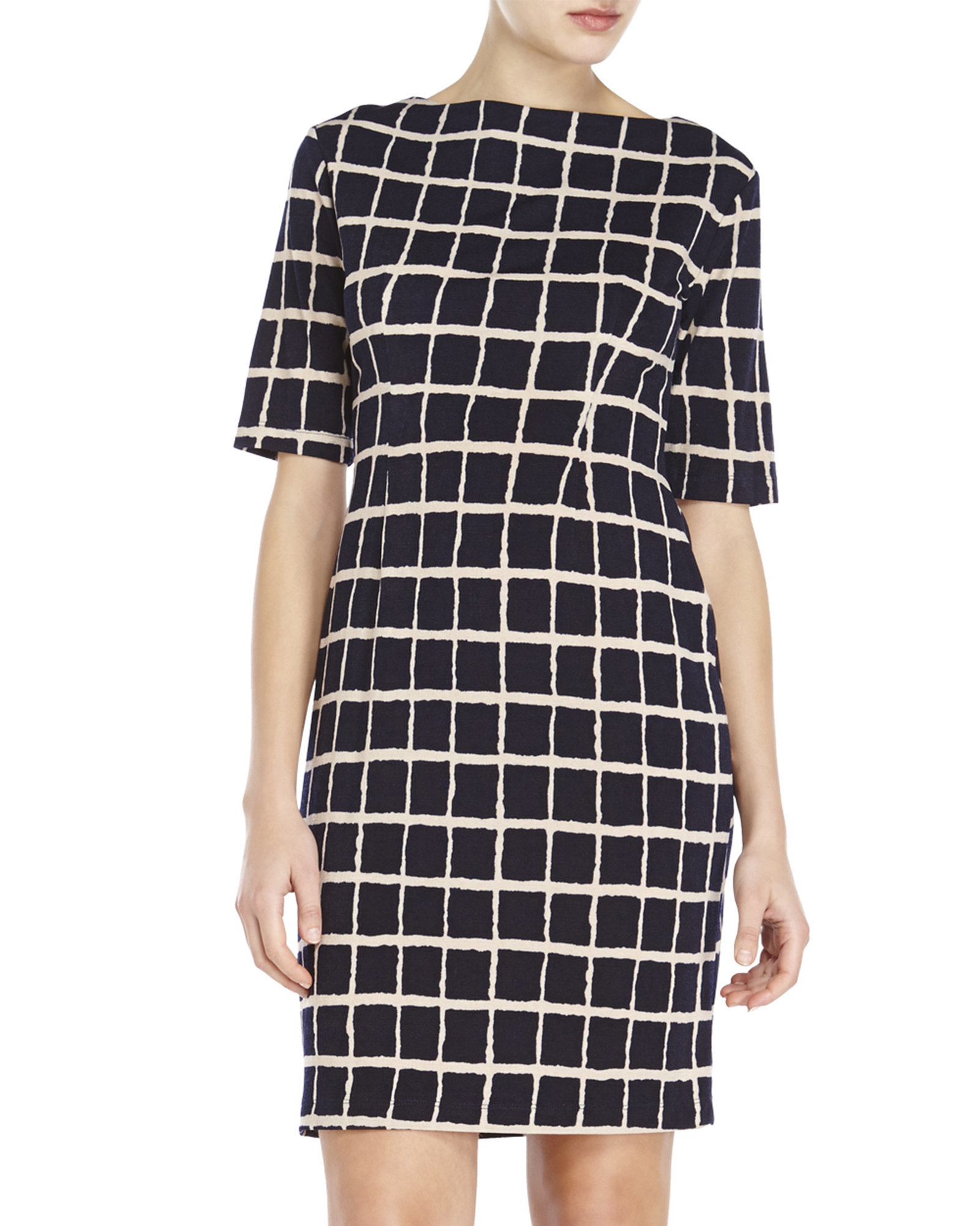 Connected Apparel Petite Grid Print Dress In Black Lyst