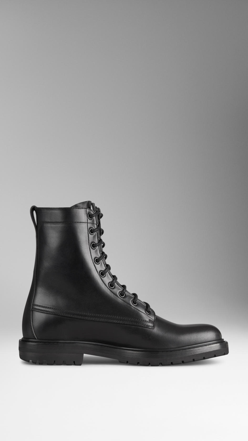 6d811aa34a9 Burberry Black Leather Military Boots for men