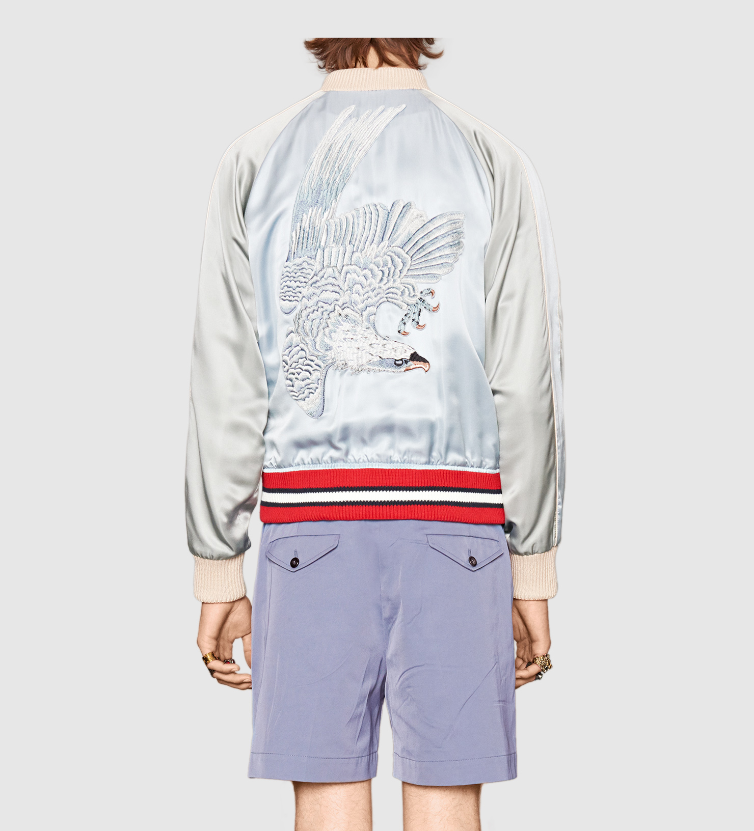 Gucci Synthetic Reversible Viscose Silk Bomber Jacket In