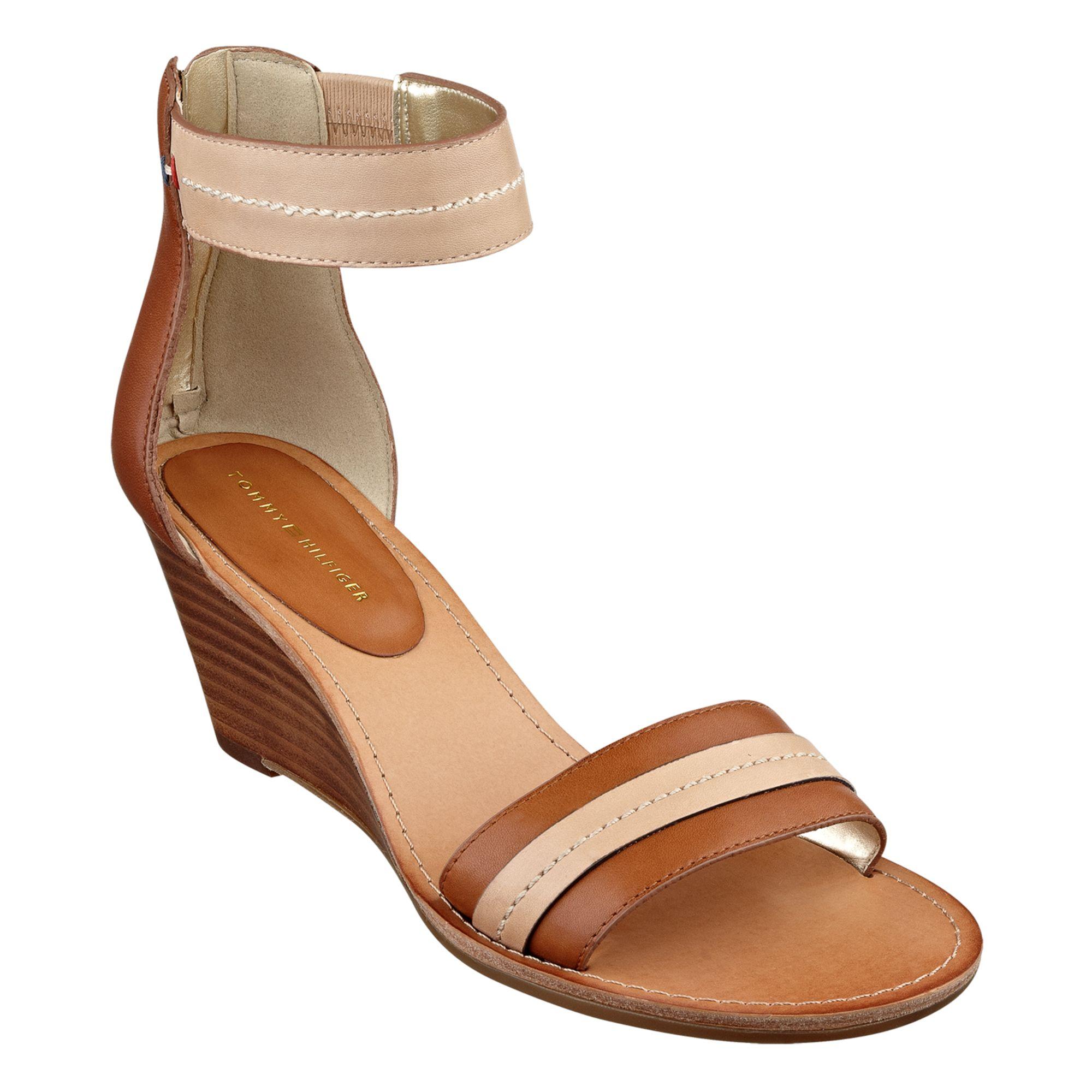 tommy hilfiger yara akle strap wedge sandals in brown luggage lyst. Black Bedroom Furniture Sets. Home Design Ideas