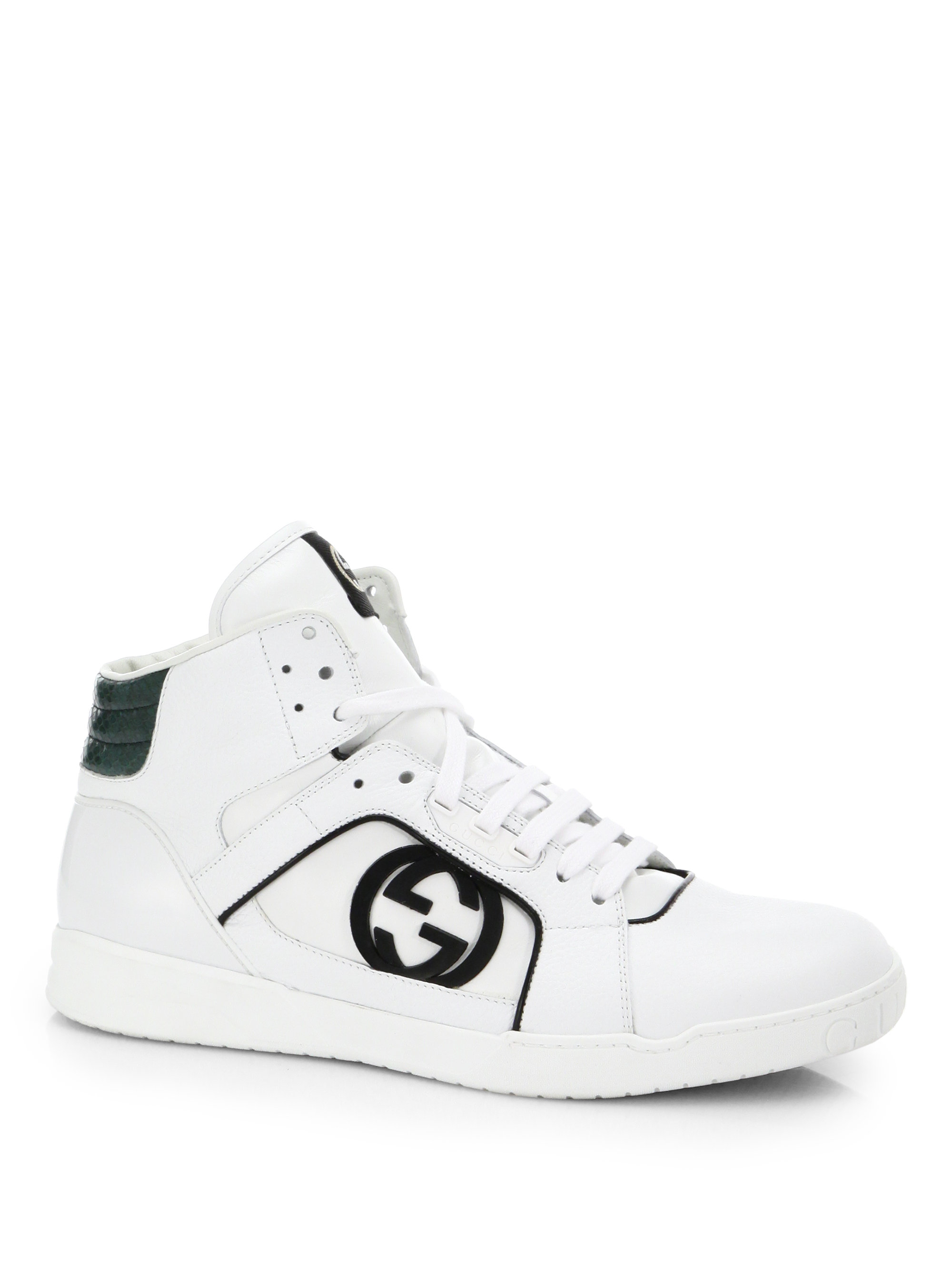 gucci rebound mid hi top sneaker in white for men lyst. Black Bedroom Furniture Sets. Home Design Ideas