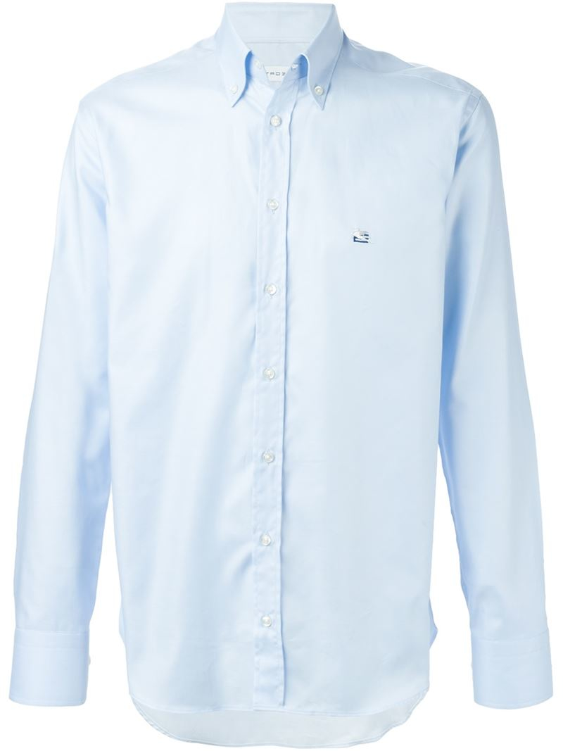 Etro Embroidered Logo Shirt In Blue For Men Lyst