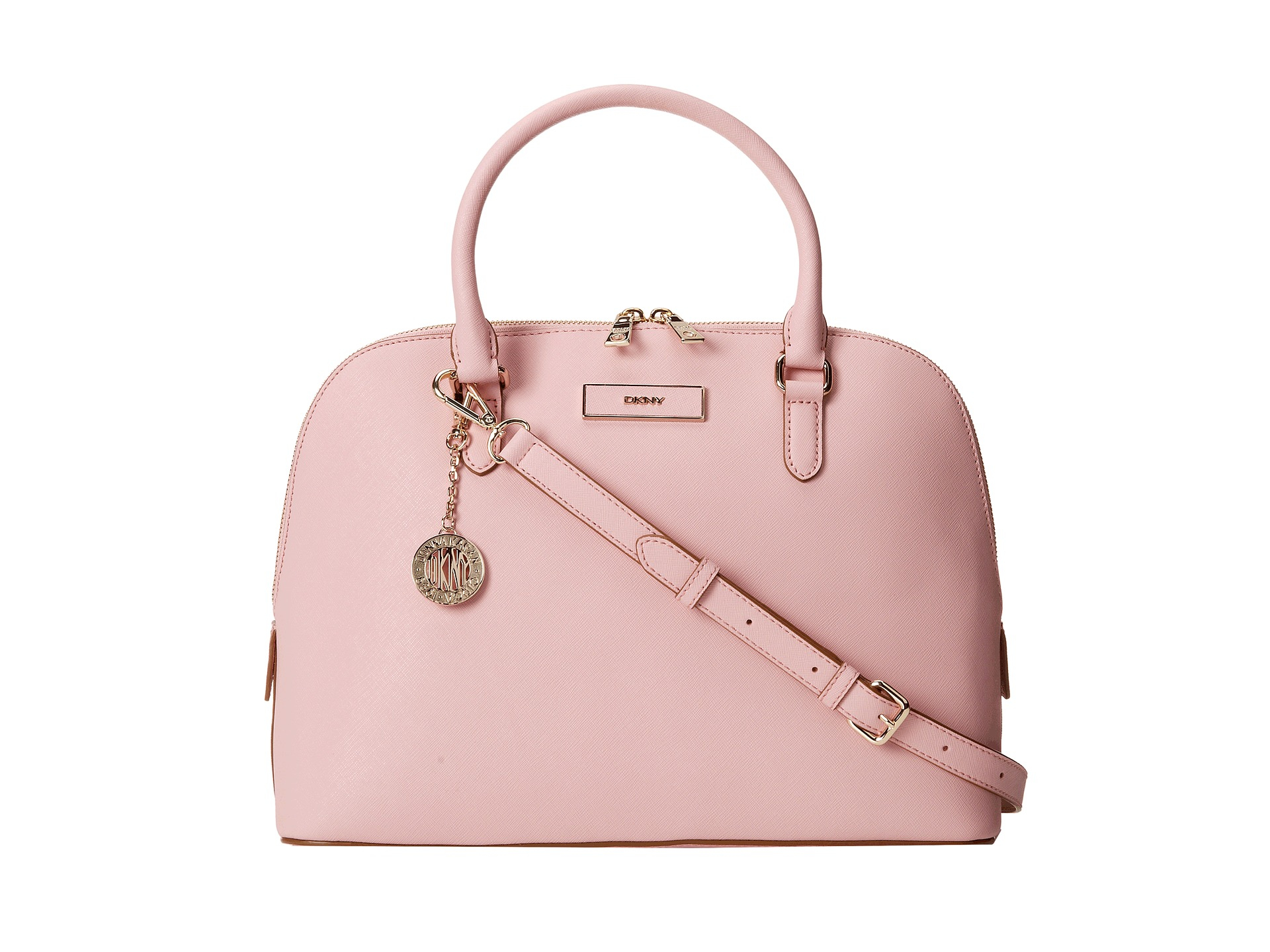dkny bryant park saffiano leather round satchel w det ss in pink lyst. Black Bedroom Furniture Sets. Home Design Ideas