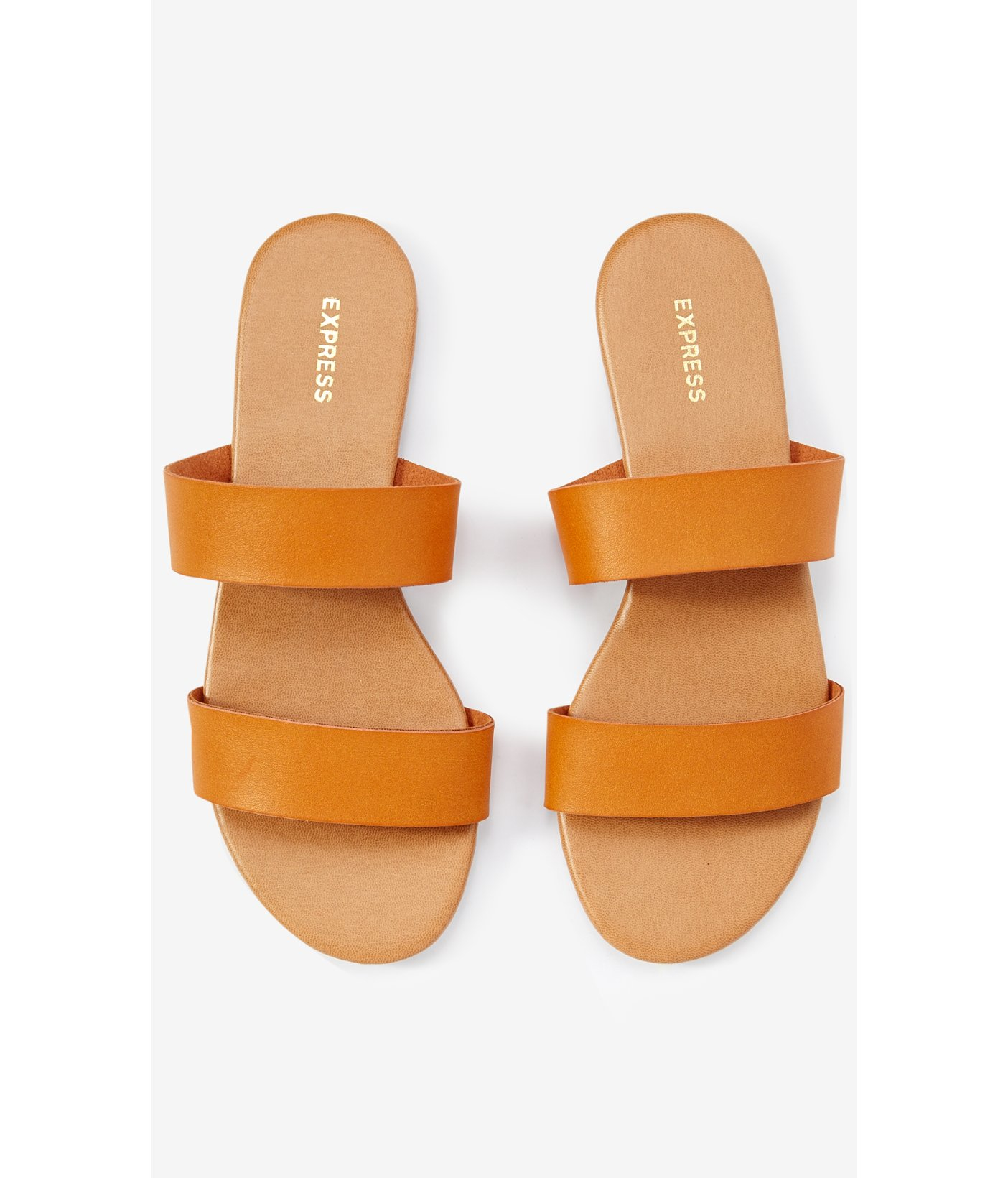 Lyst Express Two Strap Slide Sandals In Brown