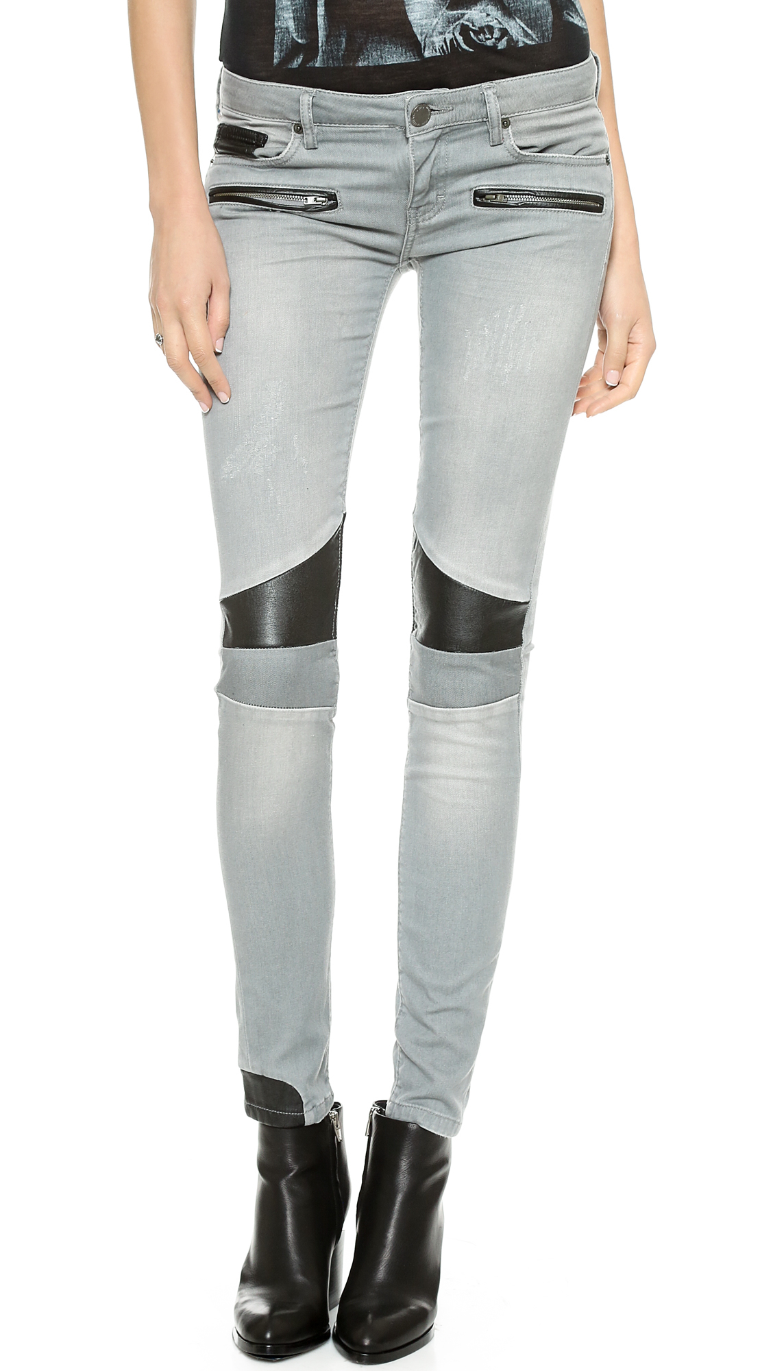 lyst  etienne marcel patchwork faux leather moto jeans in