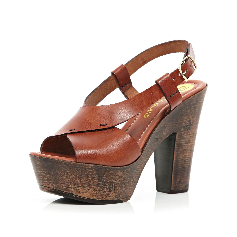 cecdfc189d River Island Tan Cross Strap Wooden Platform Sandals in Brown - Lyst