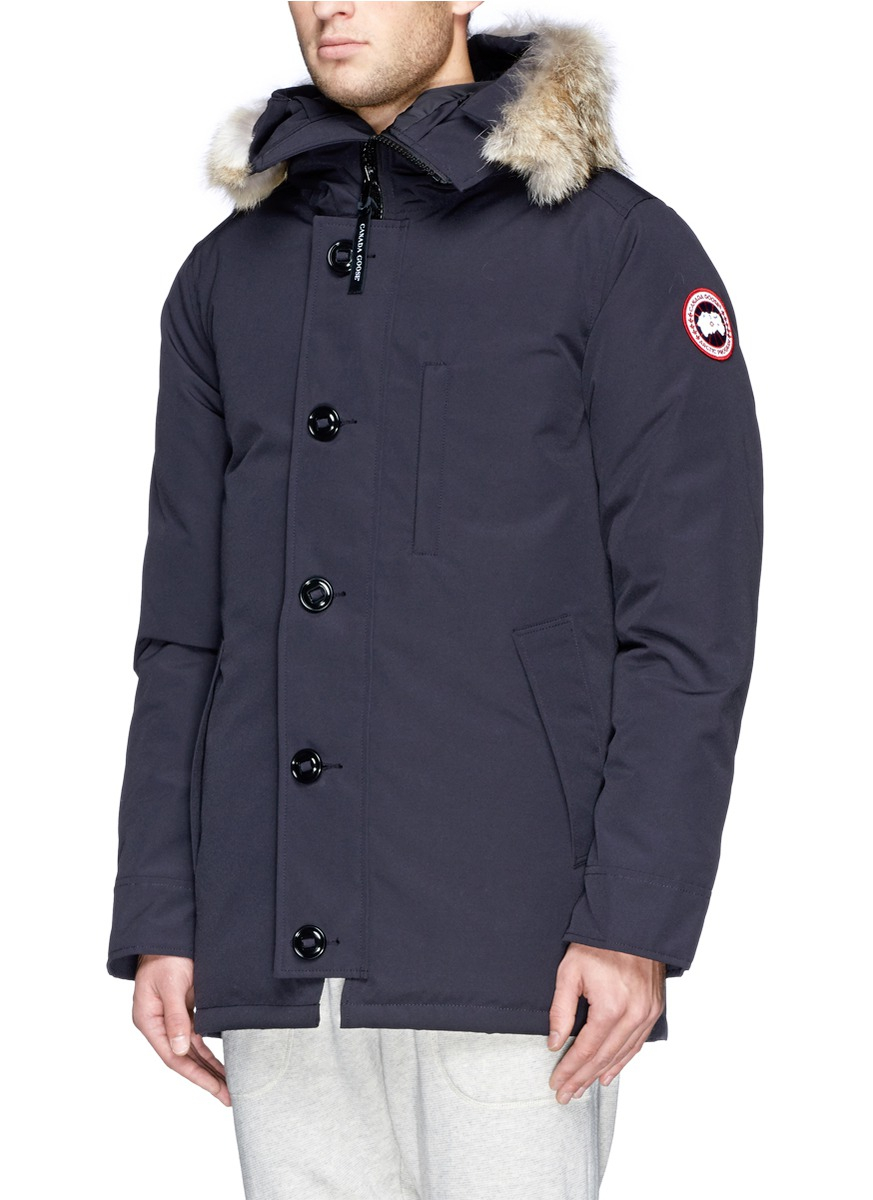 canada goose 39 chateau 39 coyote fur down parka in blue for men lyst. Black Bedroom Furniture Sets. Home Design Ideas