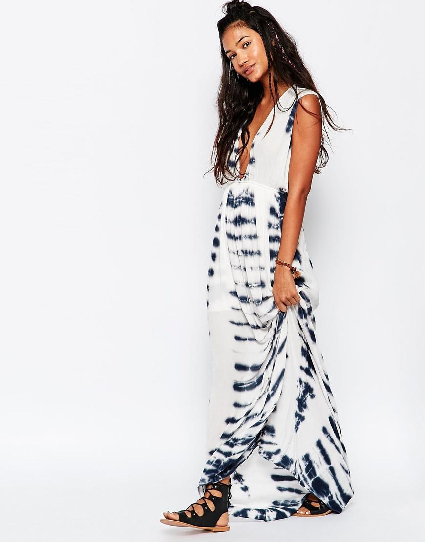 87c581c733 Surf Gypsy Tie Dye Beach Maxi Dress in Black - Lyst