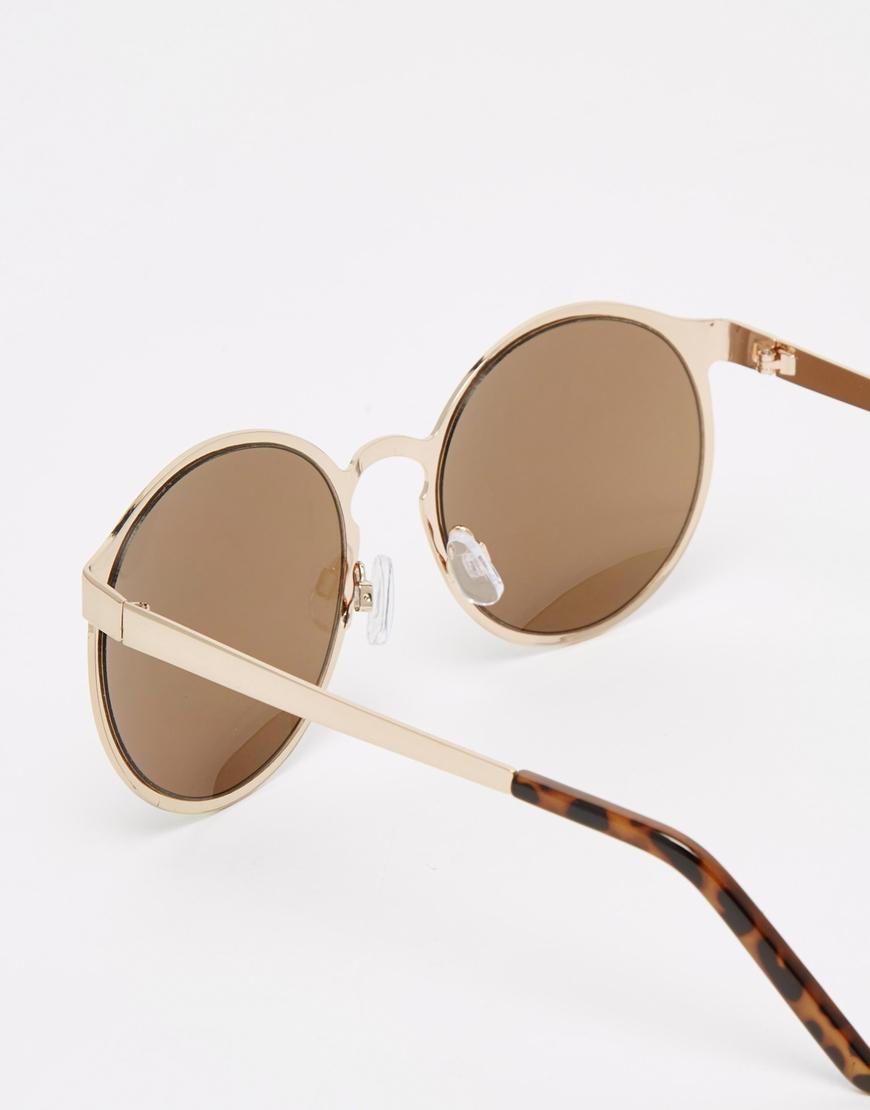 Lyst - Asos Oversized Round Sunglasses In Metal Frame in Metallic