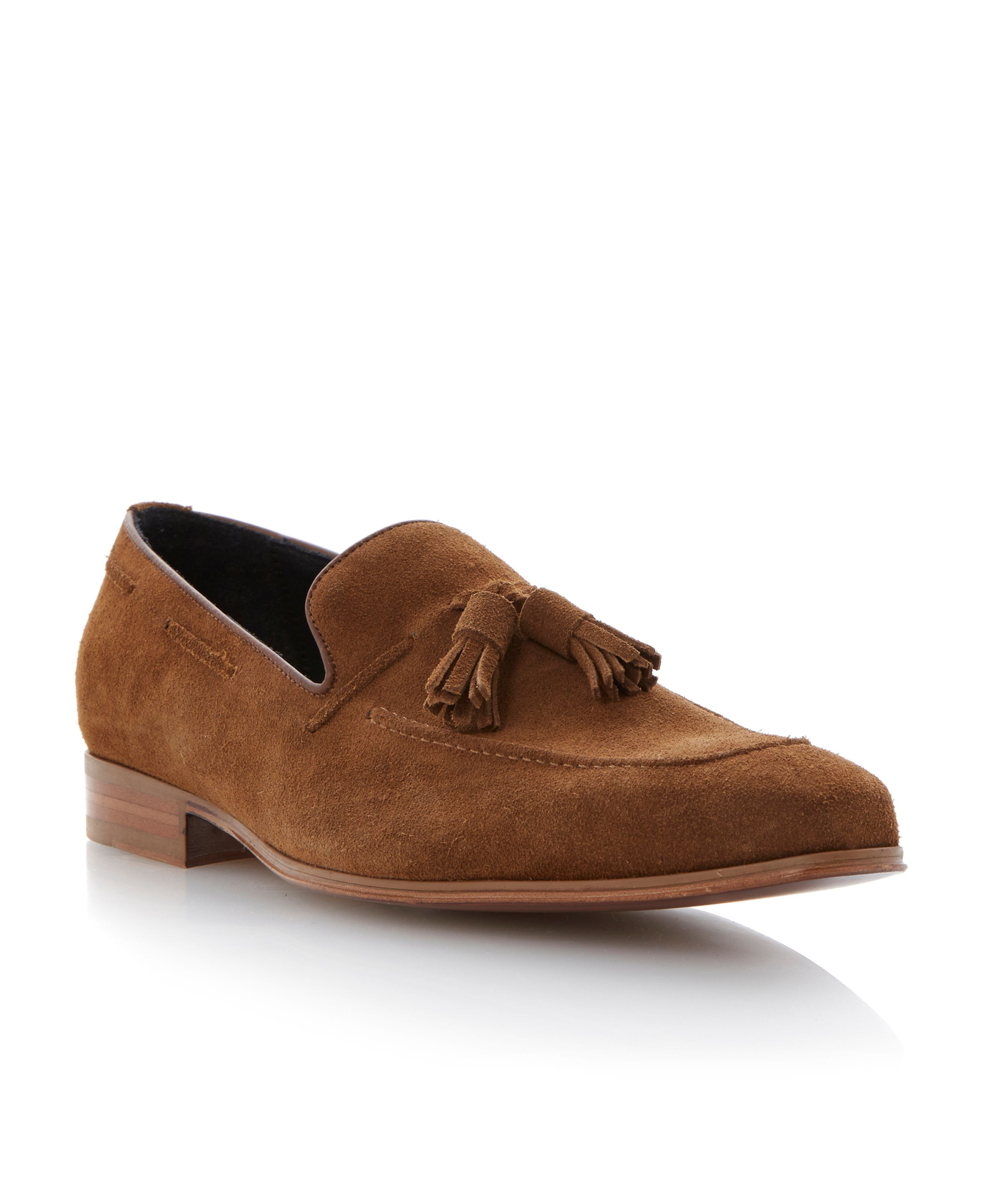 Dune Black Leather Rupert Apron Detail Tassel Loafers in Tan (Brown) for Men