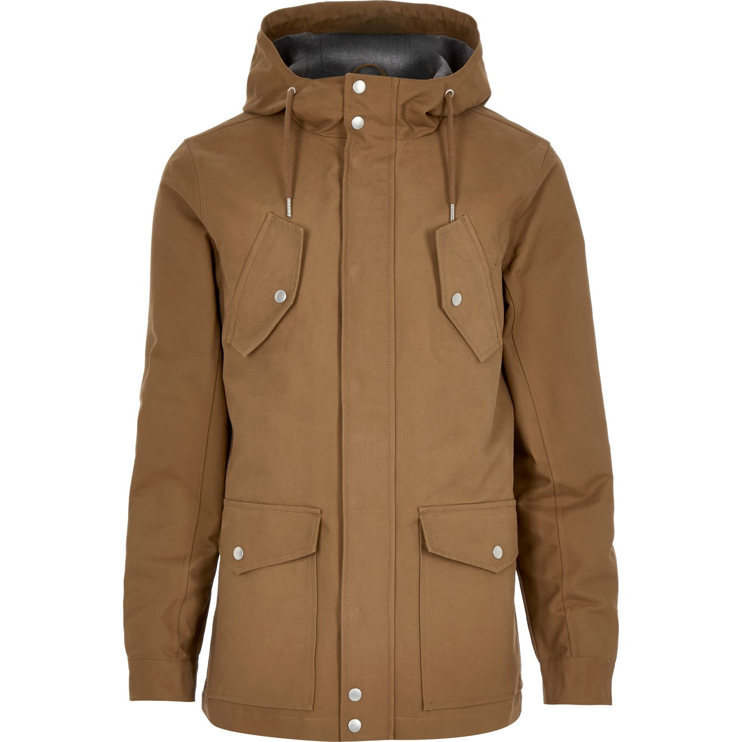 River island Brown Hooded Casual Jacket in Black for Men | Lyst