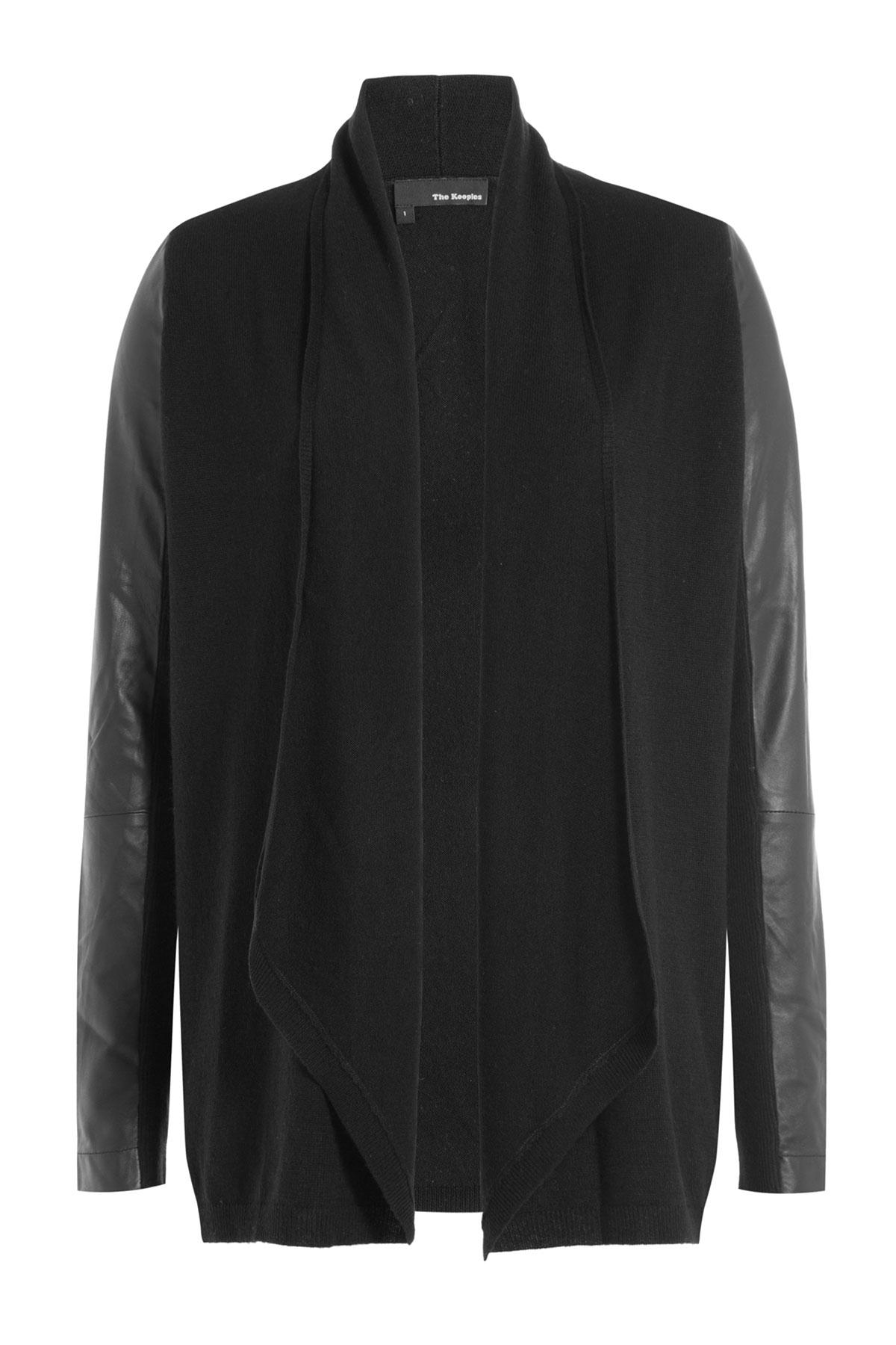 The kooples Merino Wool And Faux Leather Cardigan - Black in Black ...
