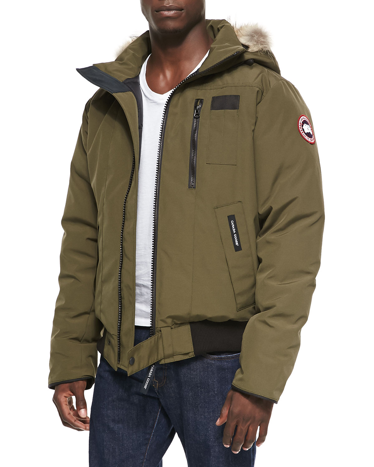 77dcbba6ad1 ... store lyst canada goose borden zip bomber jacket with fur trim h 425fd  29d55