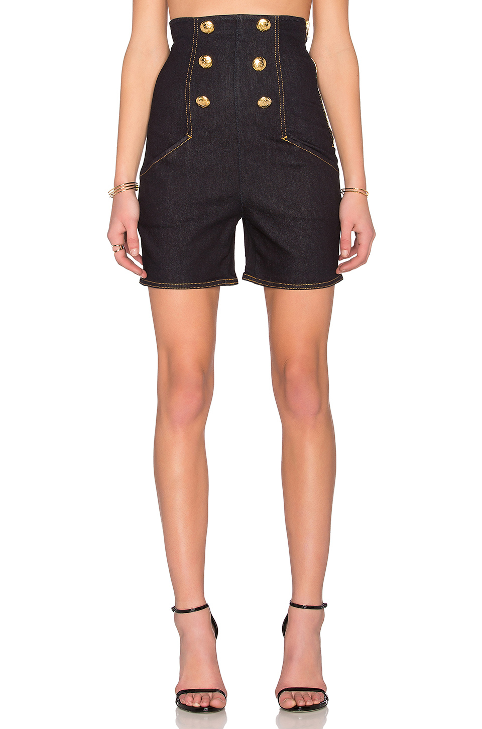 Lyst Love Moschino High Waisted Shorts In Blue