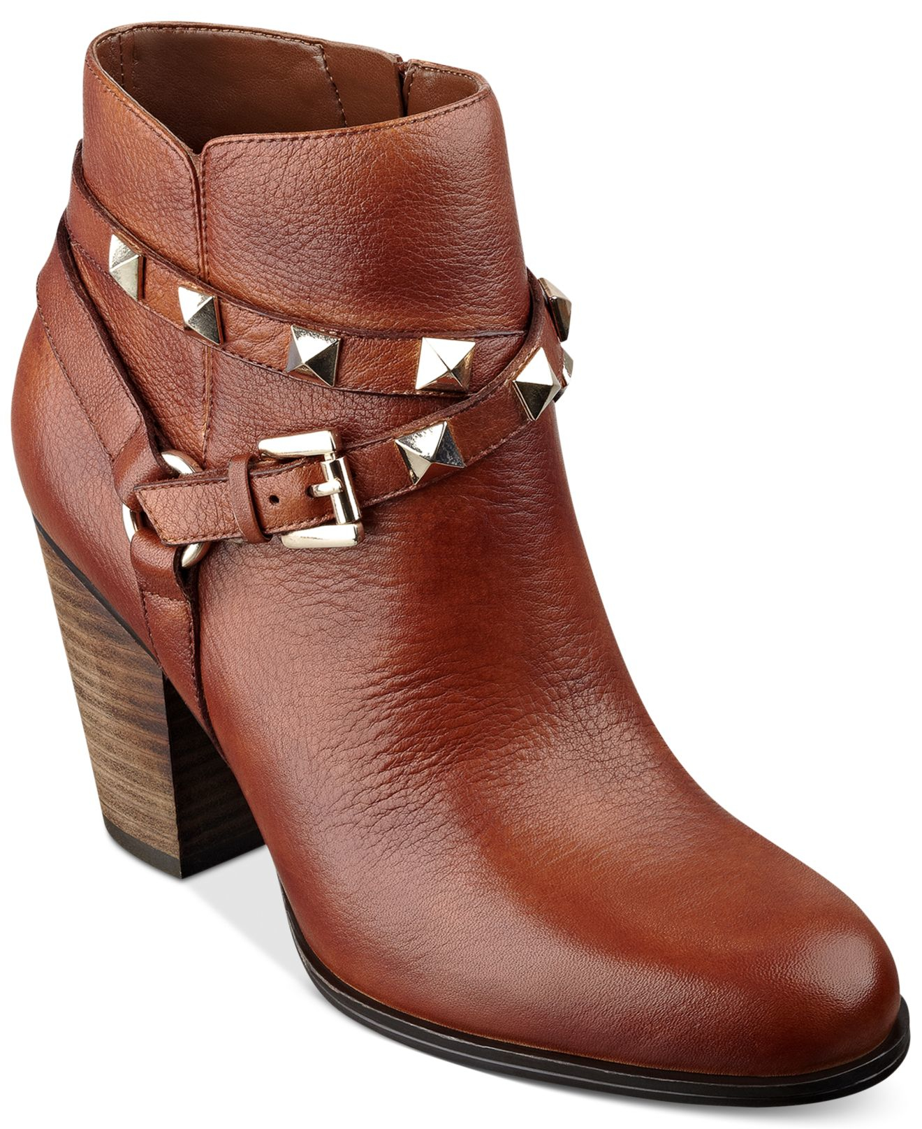guess s fran studded booties in brown lyst