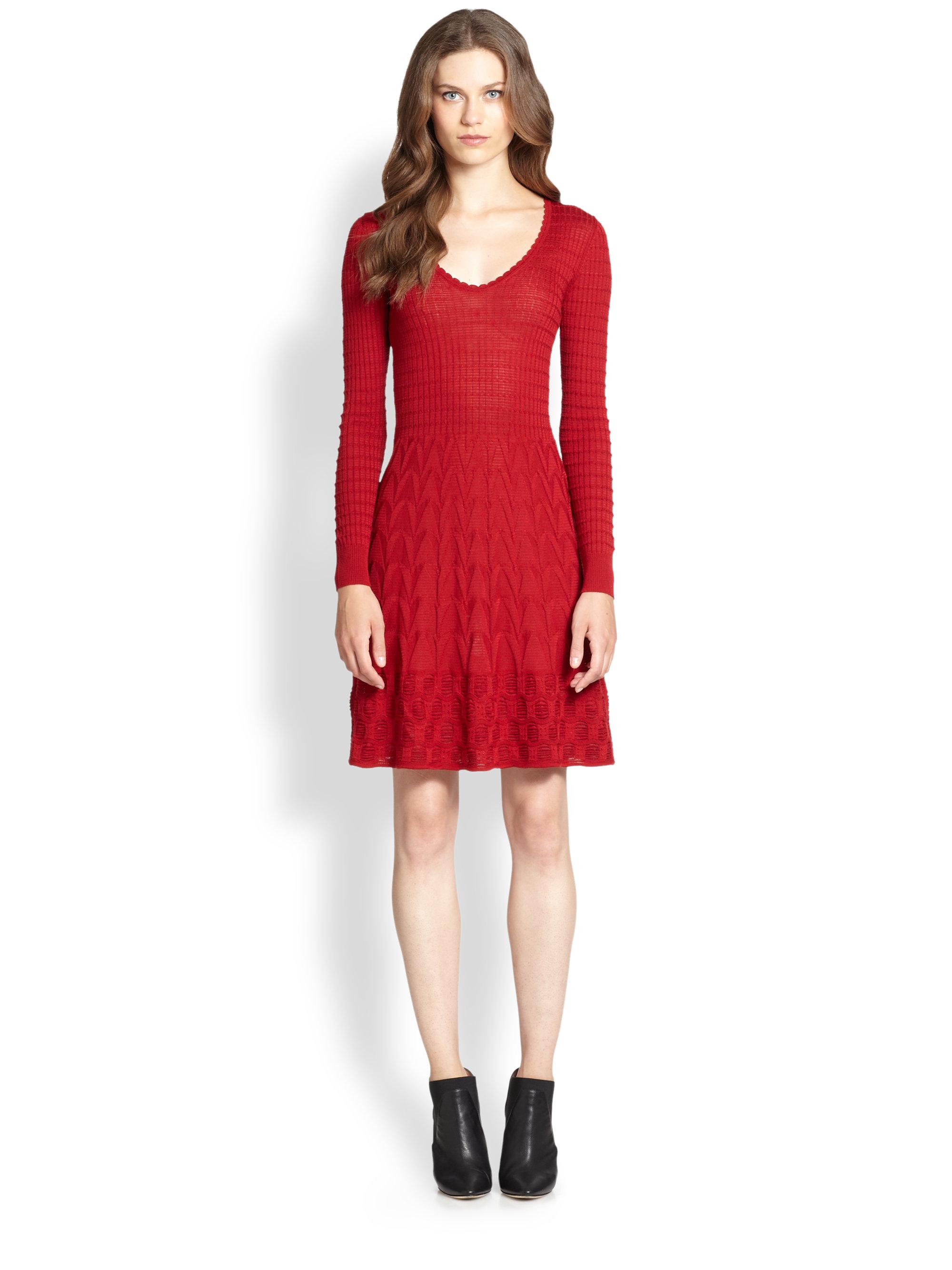 M missoni Classic Knit Dress in Red | Lyst