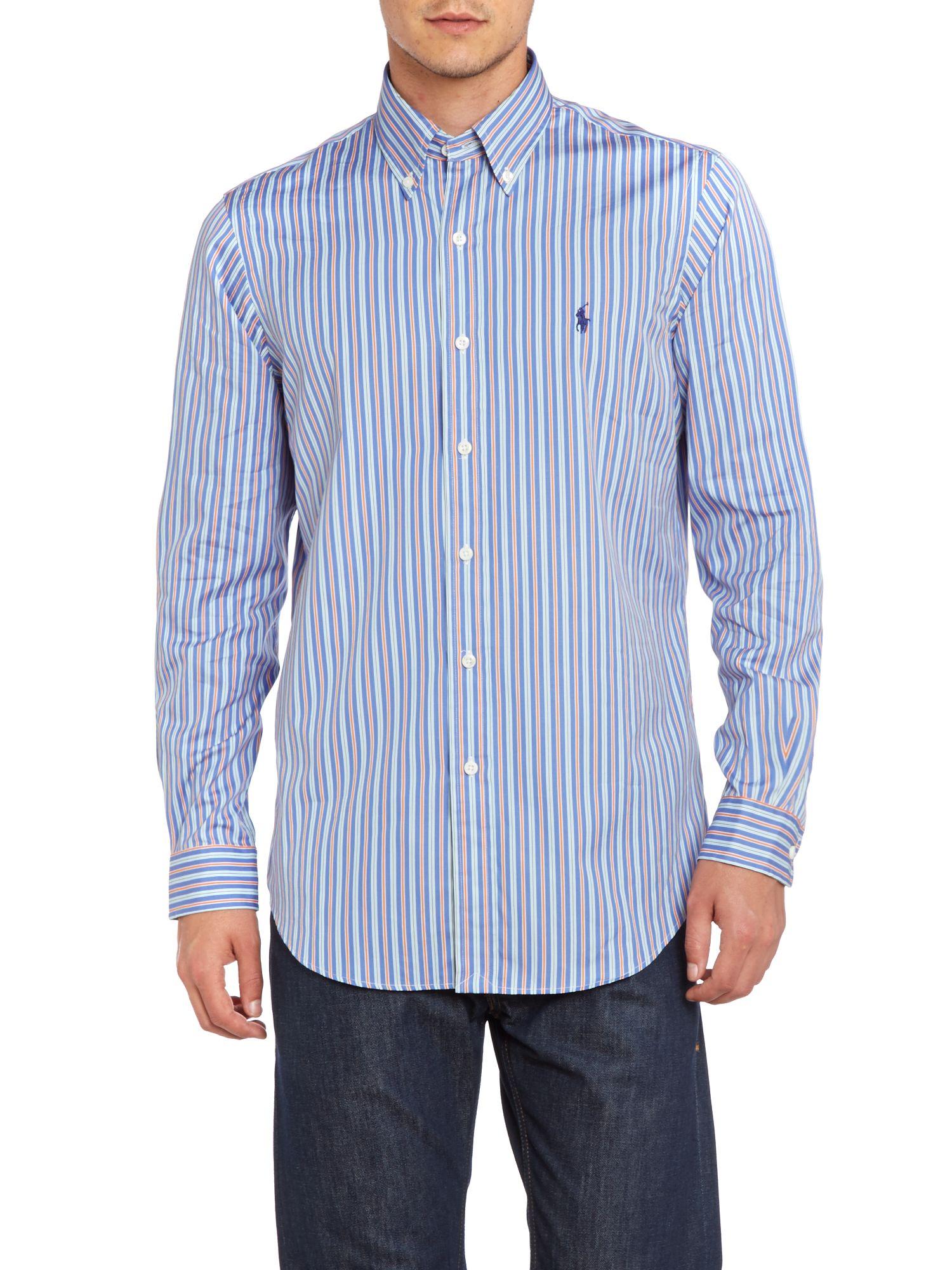 Polo ralph lauren ralph lauren custom fit poplin striped for Custom fit dress shirts