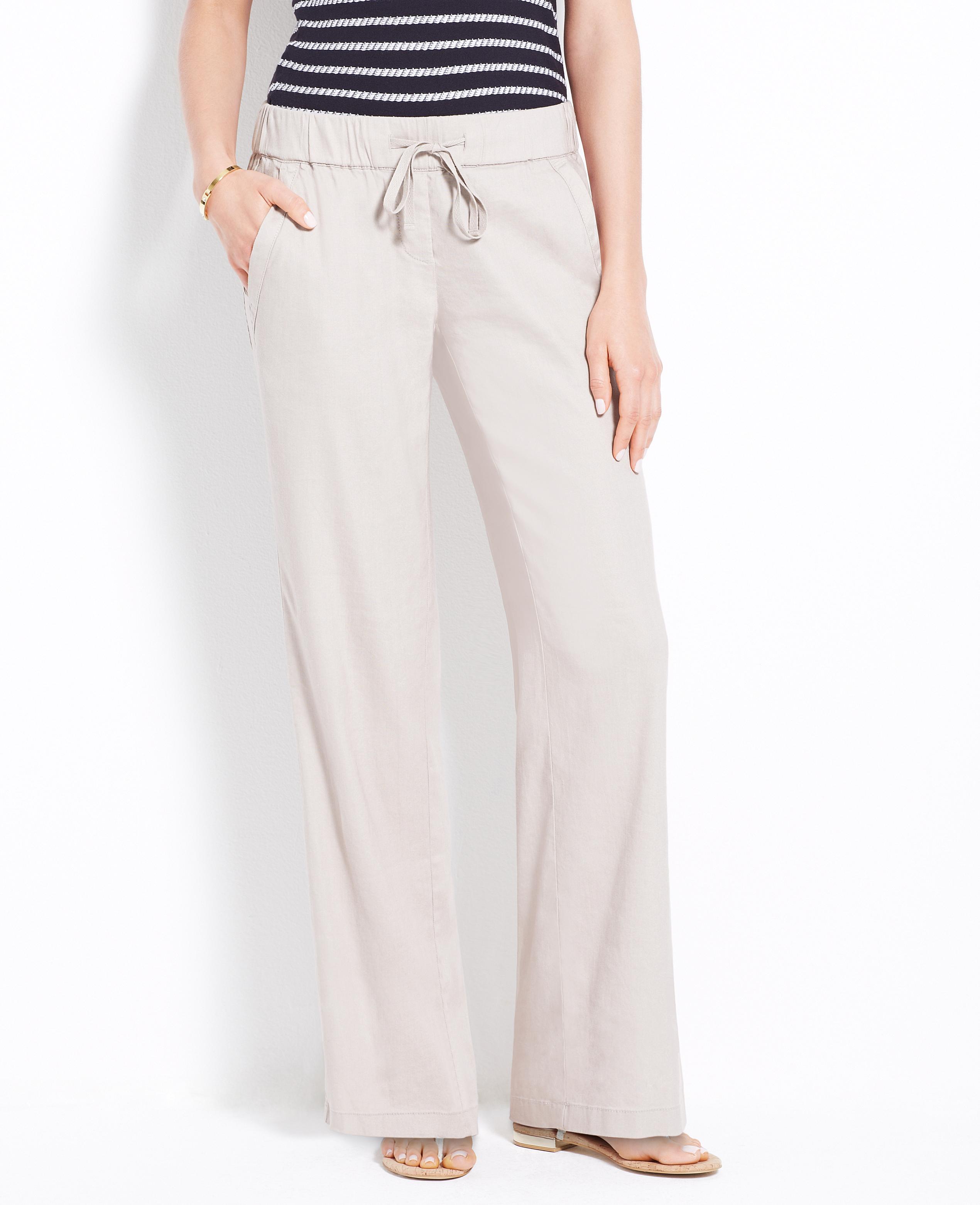 de7edbe1d50 Lyst - Ann Taylor Linen Blend Drawstring Pants in Natural
