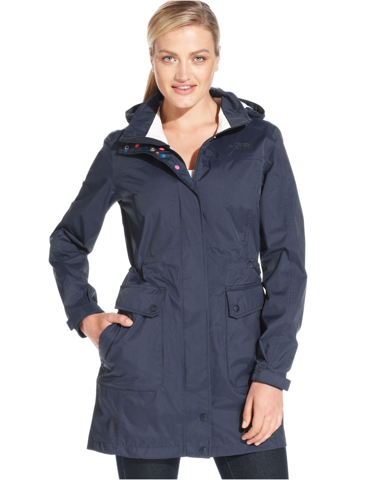bec073935 The North Face Blue Quiana Hooded Rain Jacket