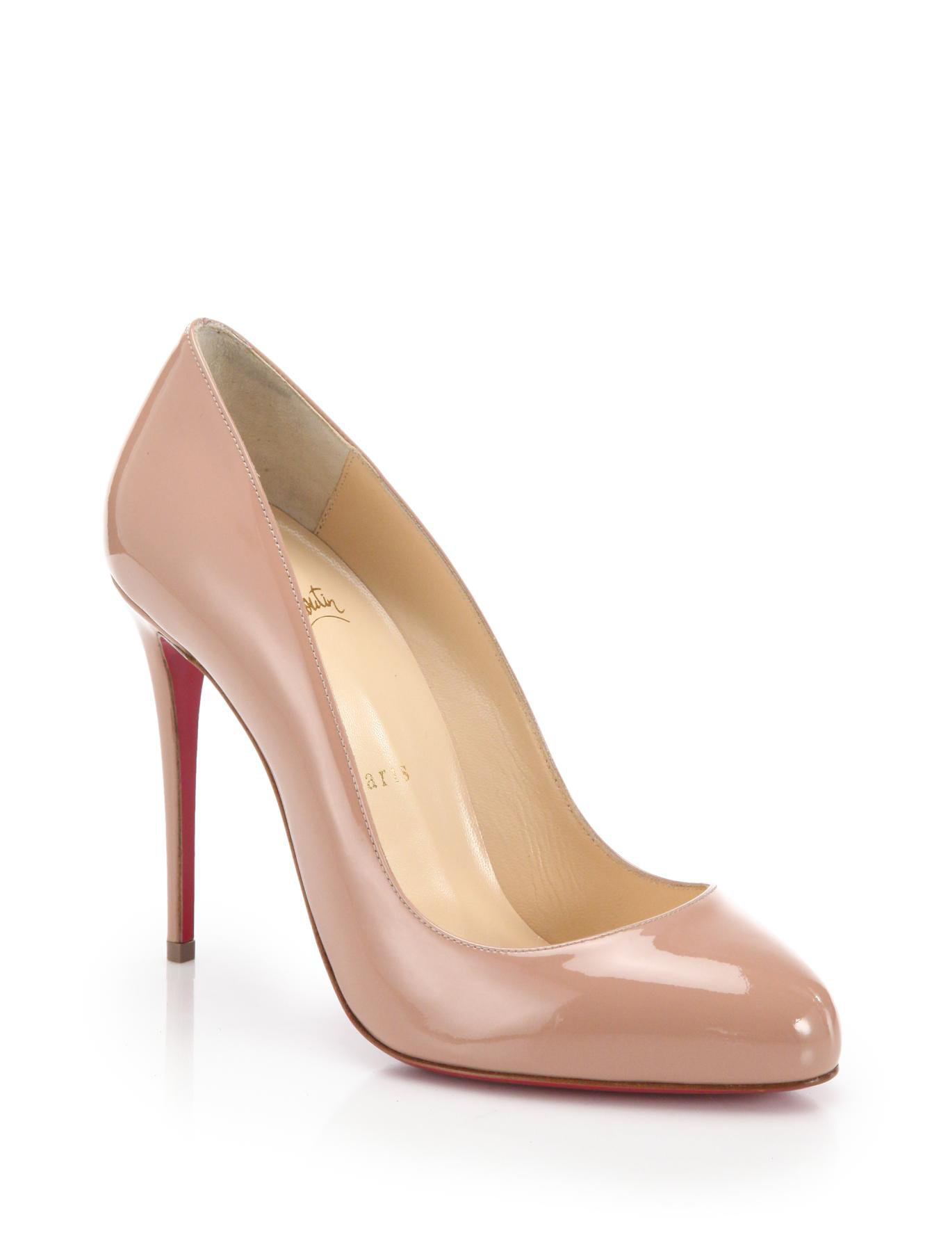 christian louboutin round-toe patent leather pumps