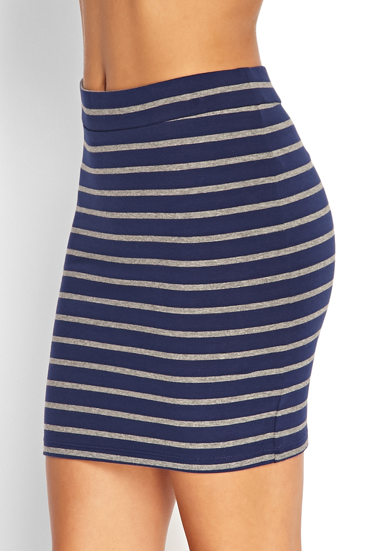 forever 21 striped bodycon skirt in blue lyst