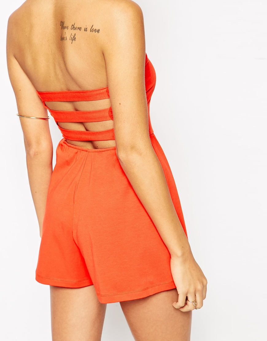 7e9fec00a8 Lyst - ASOS Bandeau Playsuit With Strap Cut Out Back in Black
