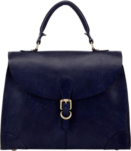 John Lewis Large Leather Top Handle Bag in Blue (navy)