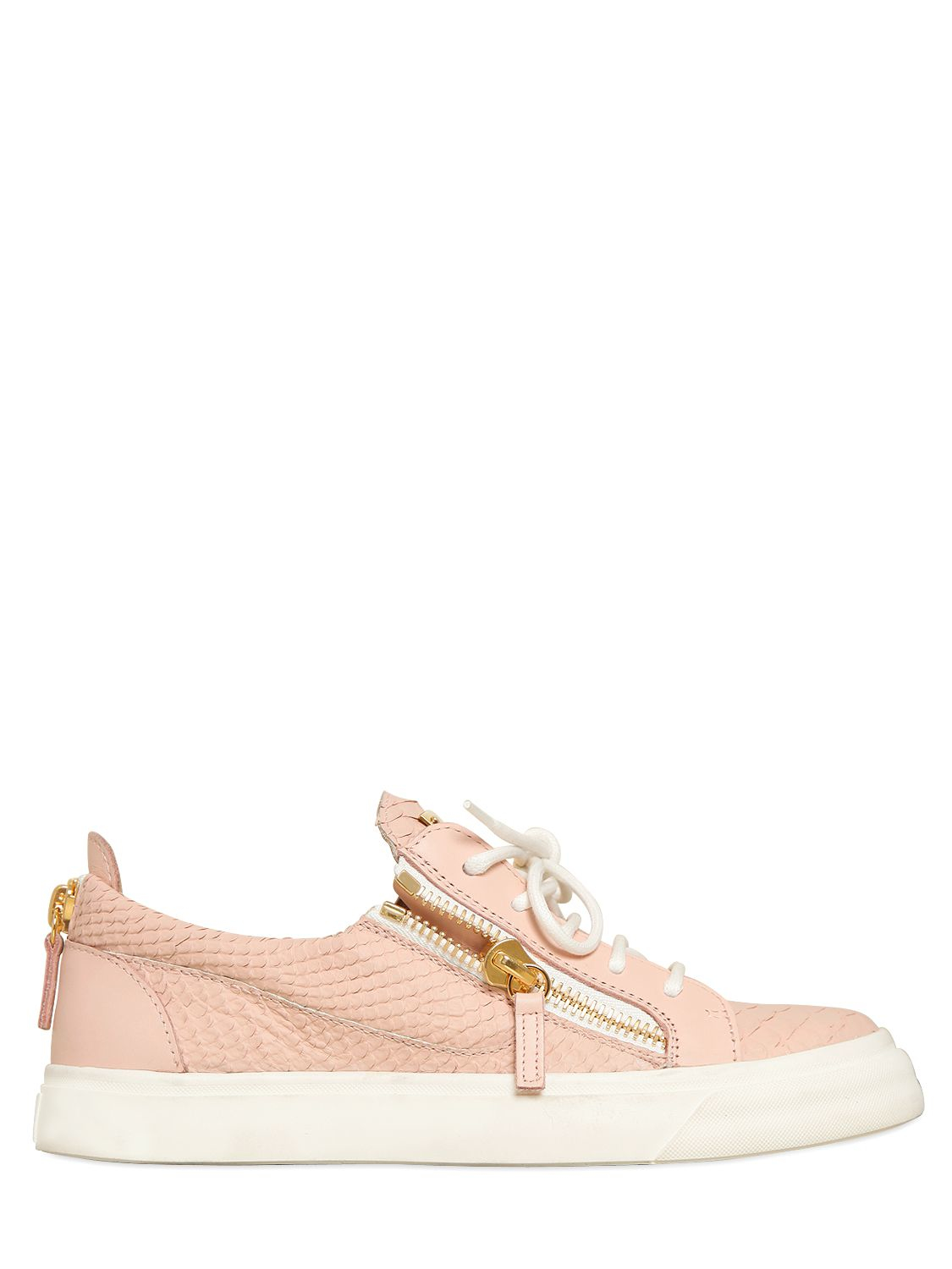 giuseppe zanotti 20mm python embossed leather sneakers in