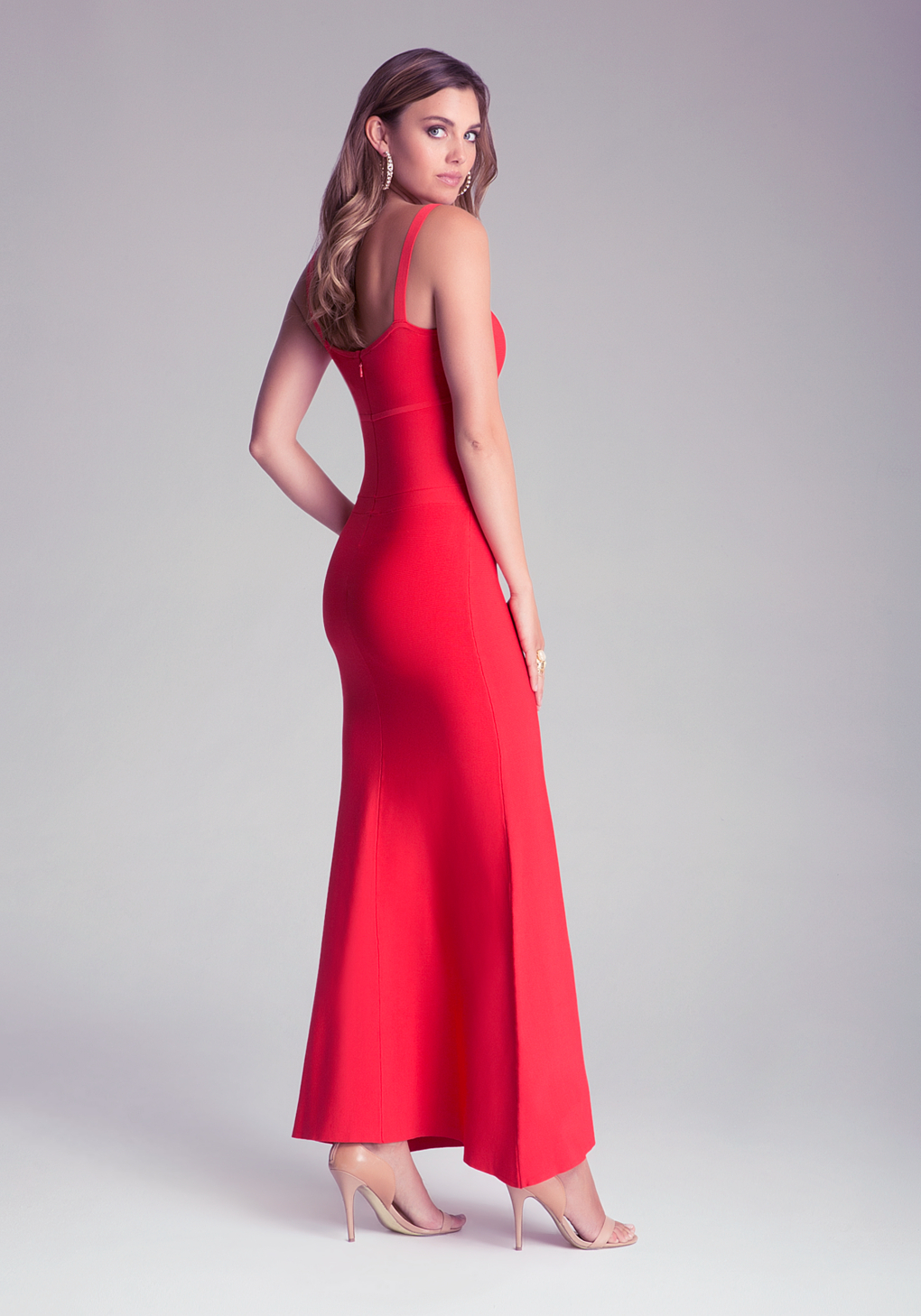 Bebe Bodycon Maxi Dress in Red | Lyst