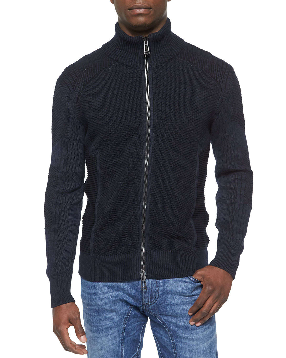 Belstaff Cleveland Textured Full-zip Sweater in Black for Men | Lyst