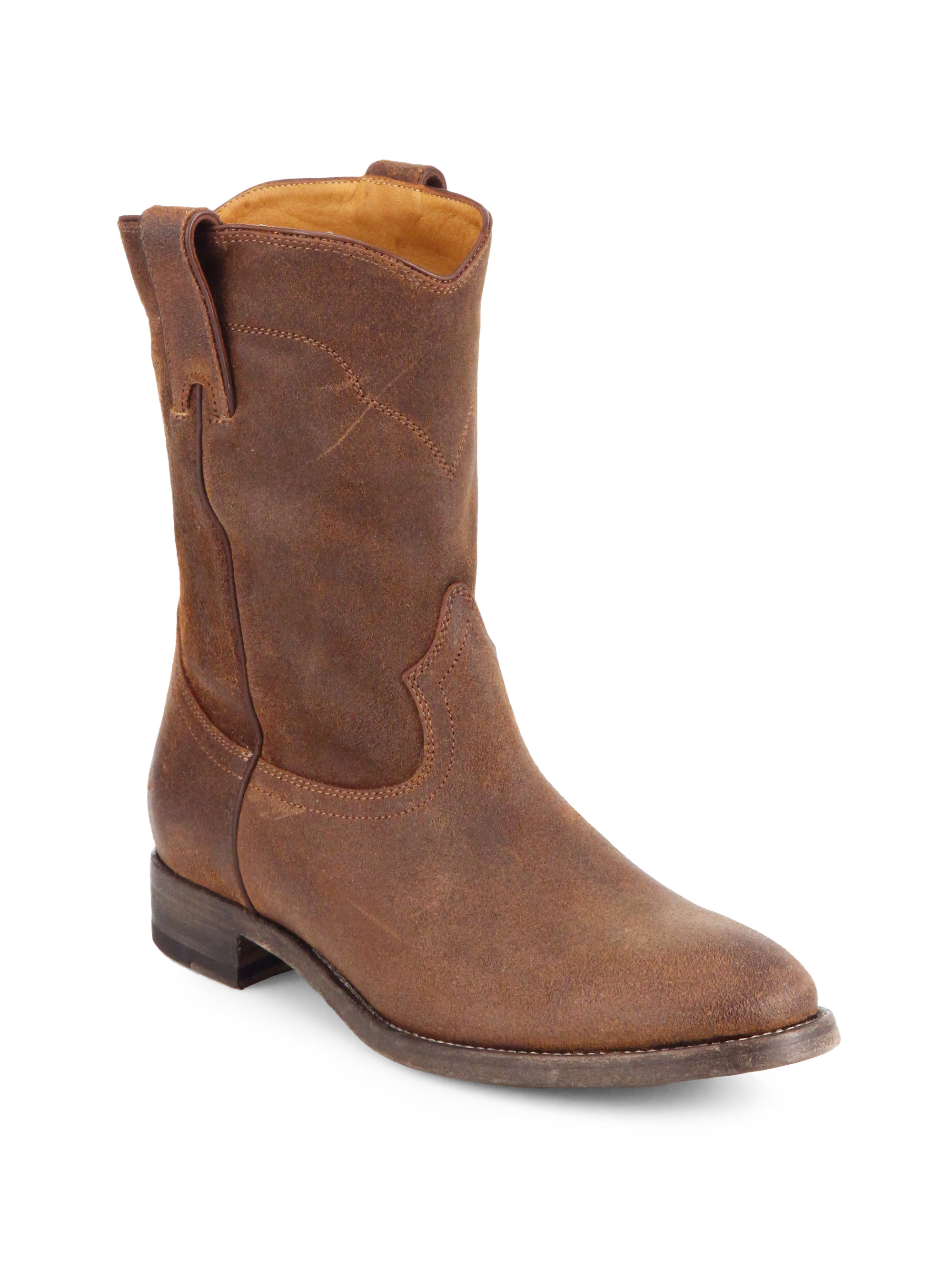 pink pony marlow suede western boots in brown lyst
