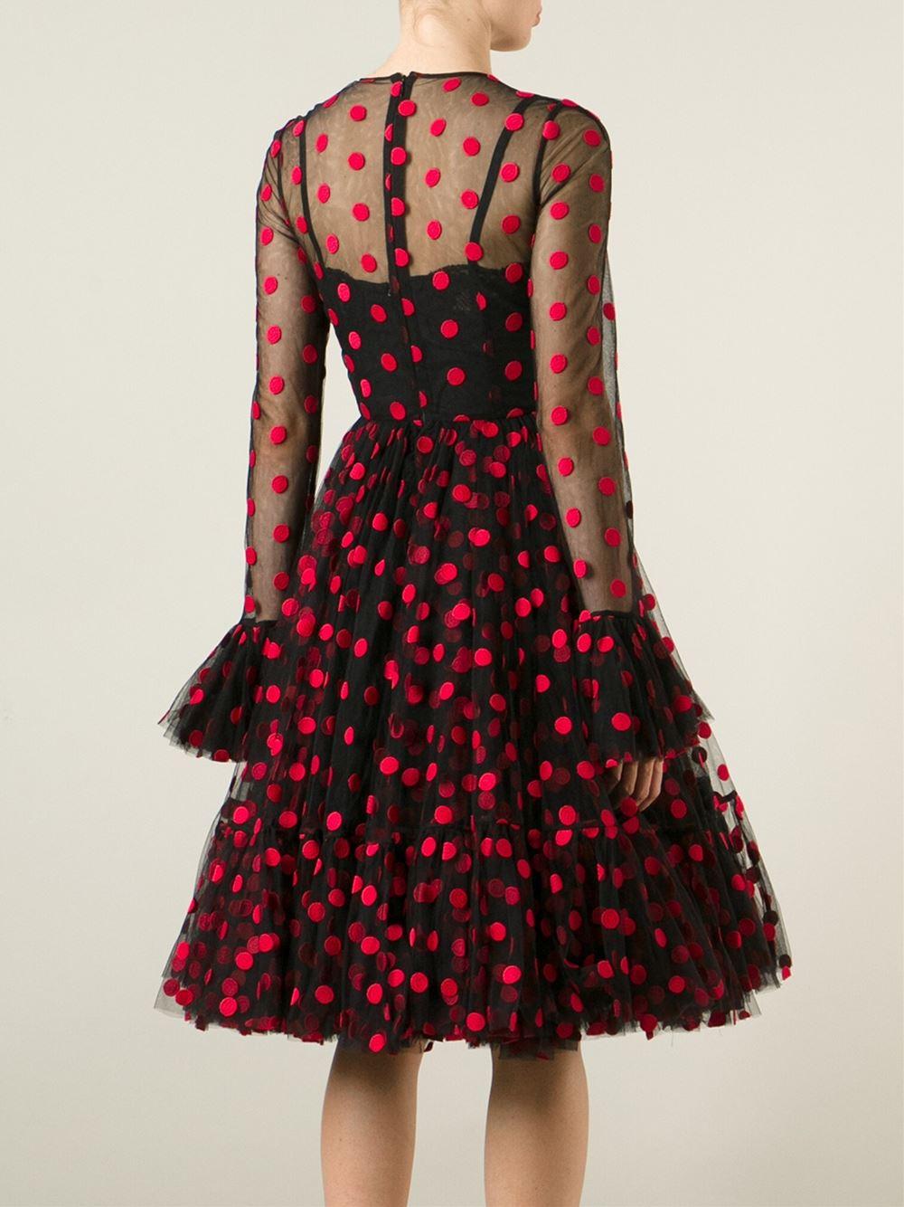 Dolce Amp Gabbana Polka Dot Ruffled Dress In Black Lyst