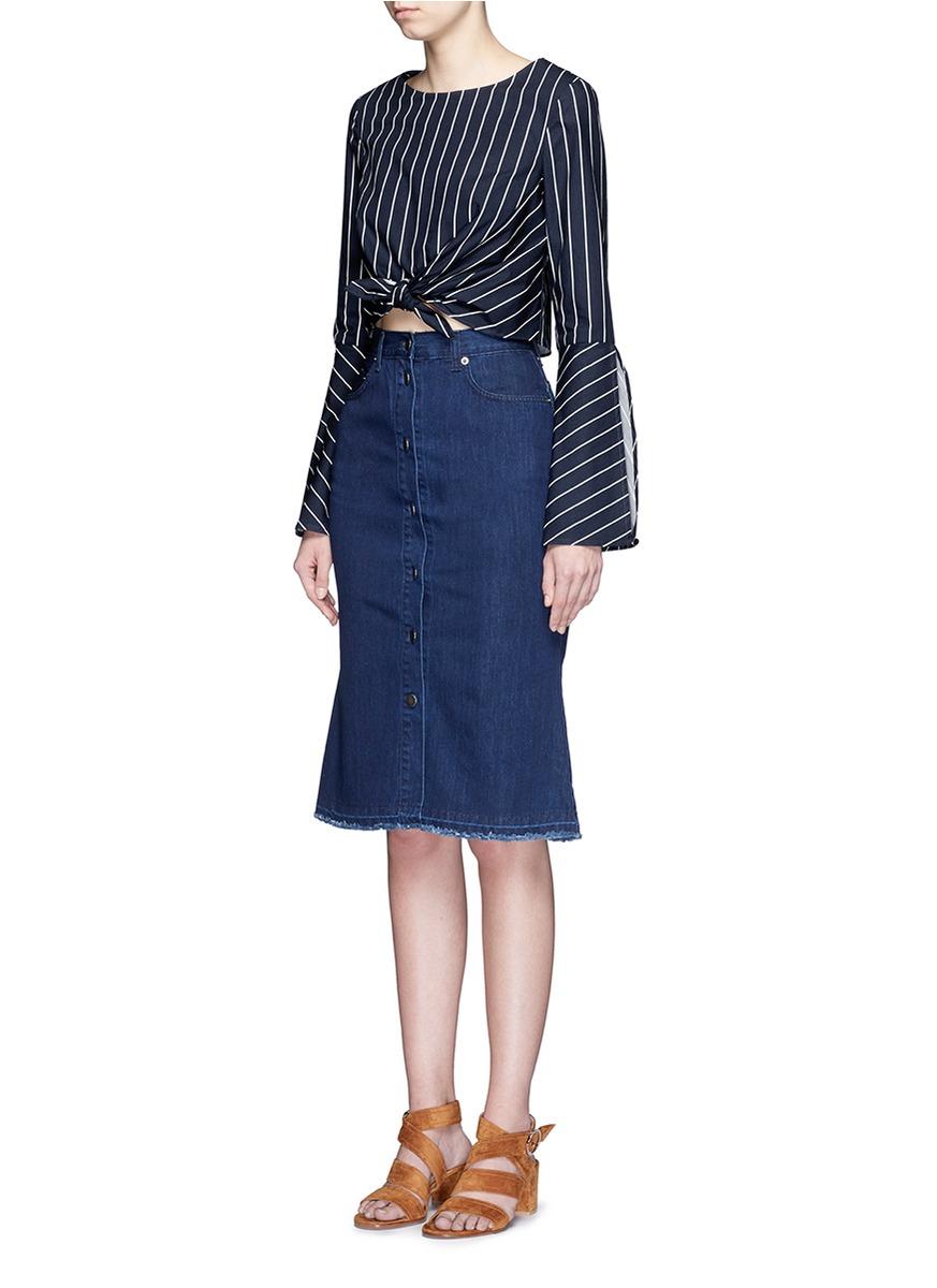 Nicholas Stripe Bell Sleeve Tie-front Poplin Top in Blue ...