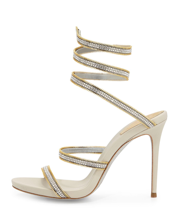 b039af27ab96 Lyst - Rene Caovilla Crystal Snake-Coil Sandals
