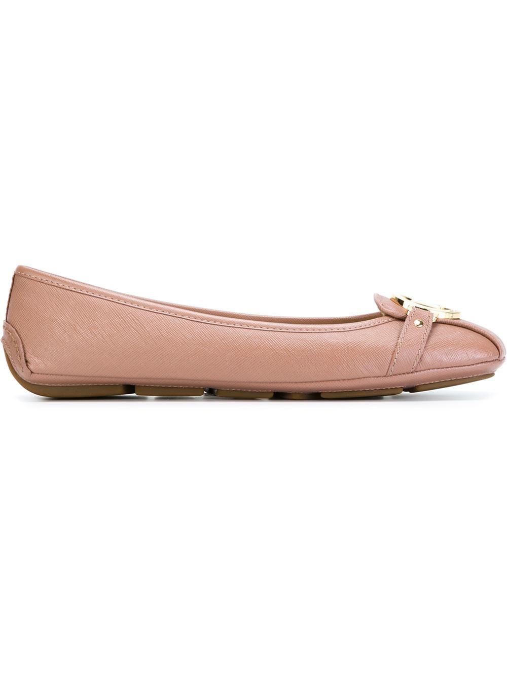 lyst michael michael kors fulton leather ballet flats in pink. Black Bedroom Furniture Sets. Home Design Ideas